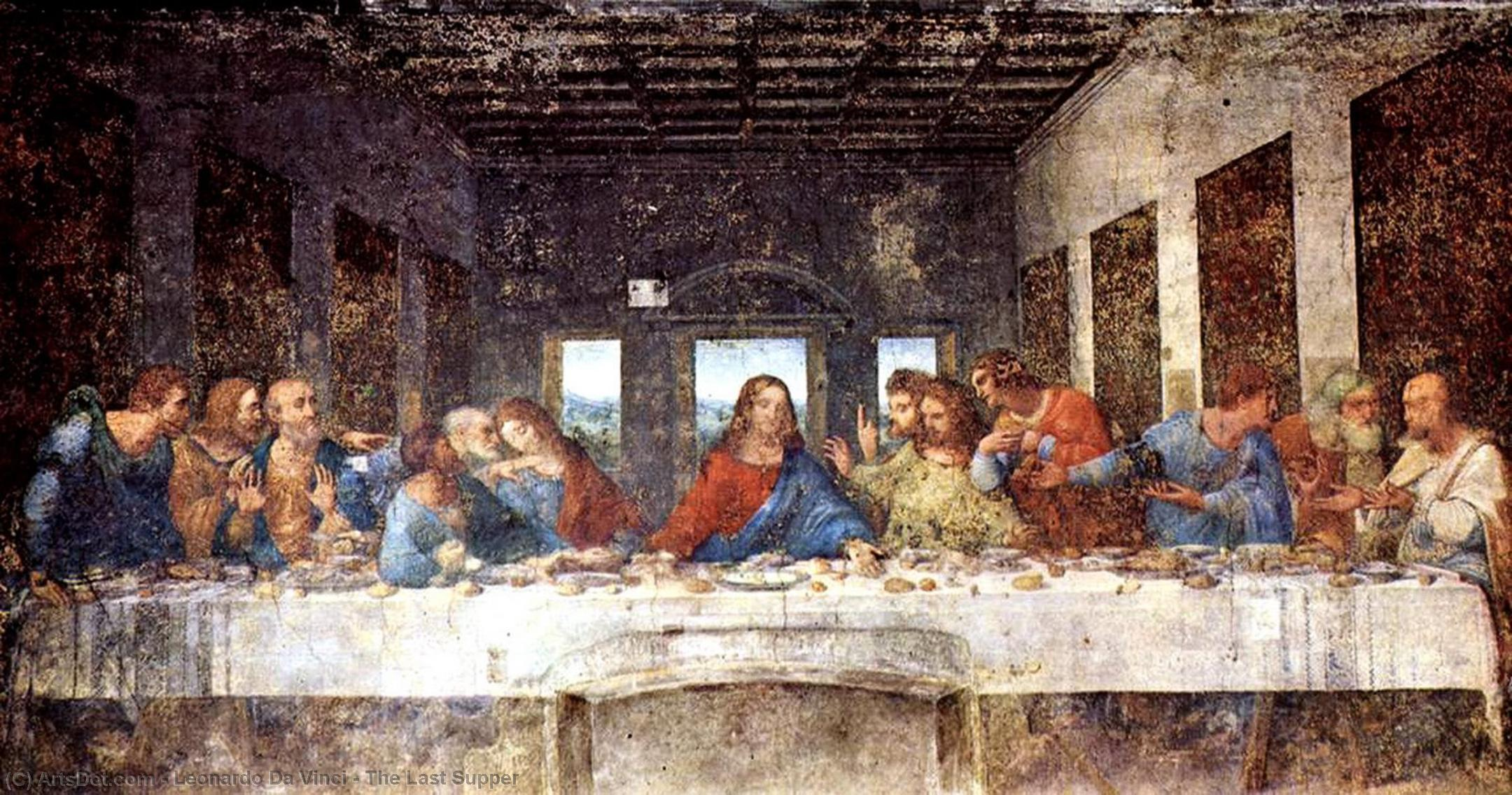 The Last Supper, 1497 by Leonardo Da Vinci (1452-1519, Italy) | Paintings Reproductions Leonardo Da Vinci | ArtsDot.com