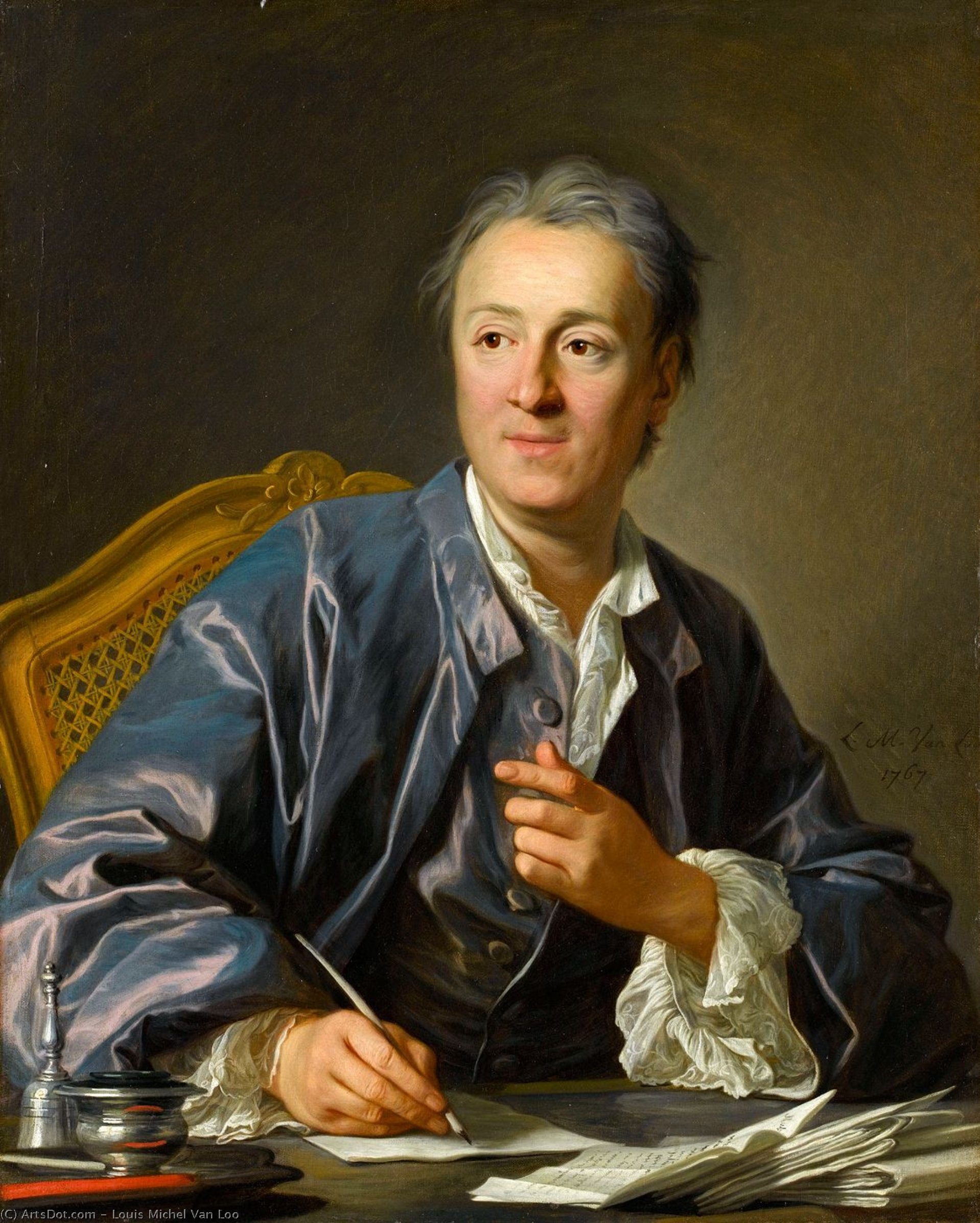 Portrait of Denis Diderot, 1767 by Louis Michel Van Loo (1707-1771, France) | Oil Painting | ArtsDot.com