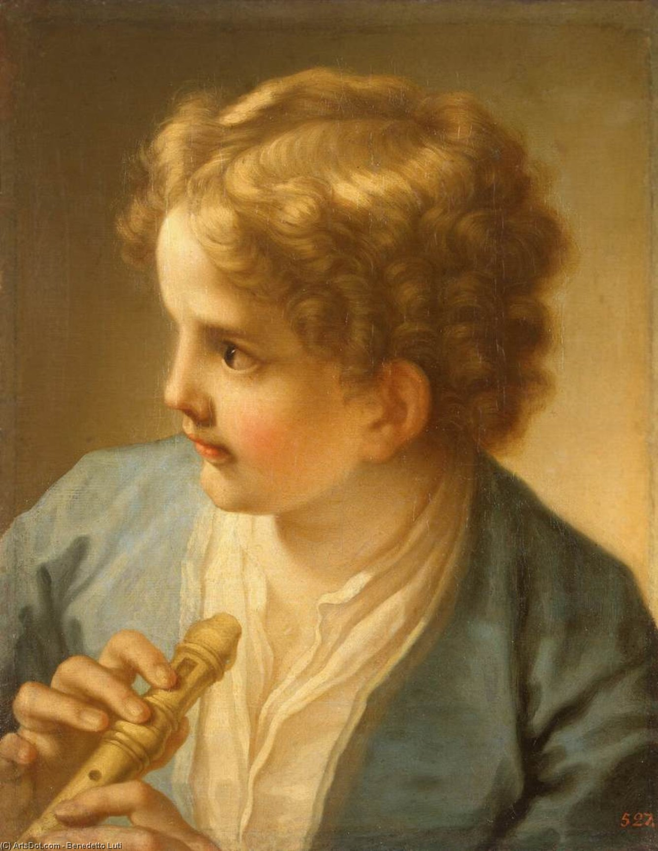 Boy with a Flute, 1720 by Benedetto Luti (1666-1724, Italy) | Painting Copy | ArtsDot.com