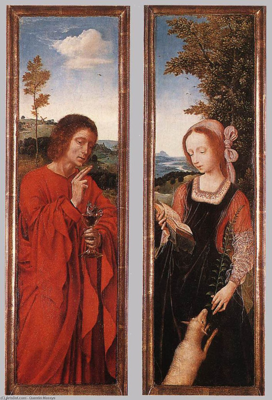 John the Baptist and St Agnes, Oil by Quentin Massys (1466-1530, Belgium)