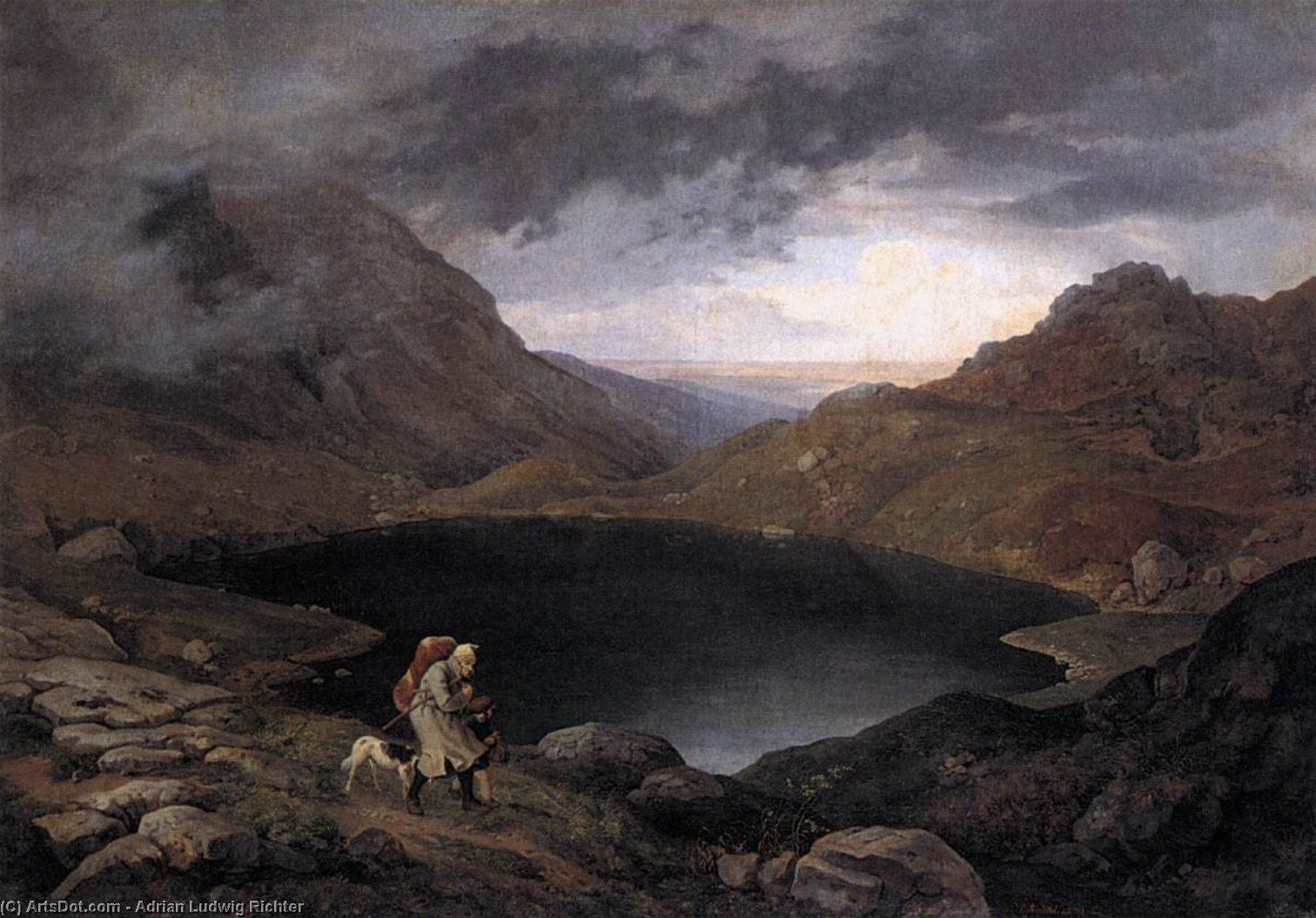 Pool in the Riesengebirge, Oil On Canvas by Adrian Ludwig Richter (1803-1884, Germany)