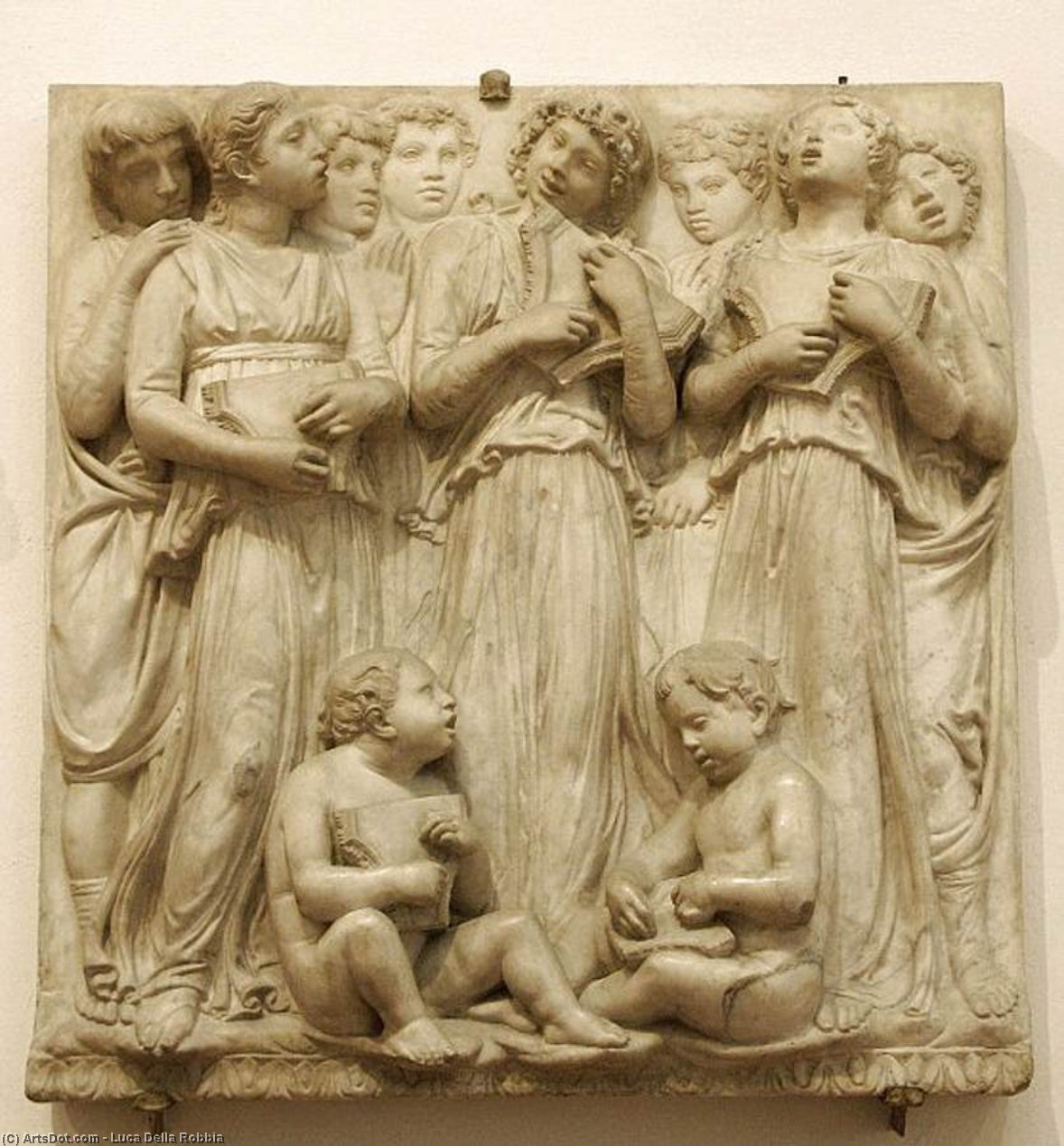 Cantoria: second top relief, Marble by Luca Della Robbia (1399-1483, Italy)