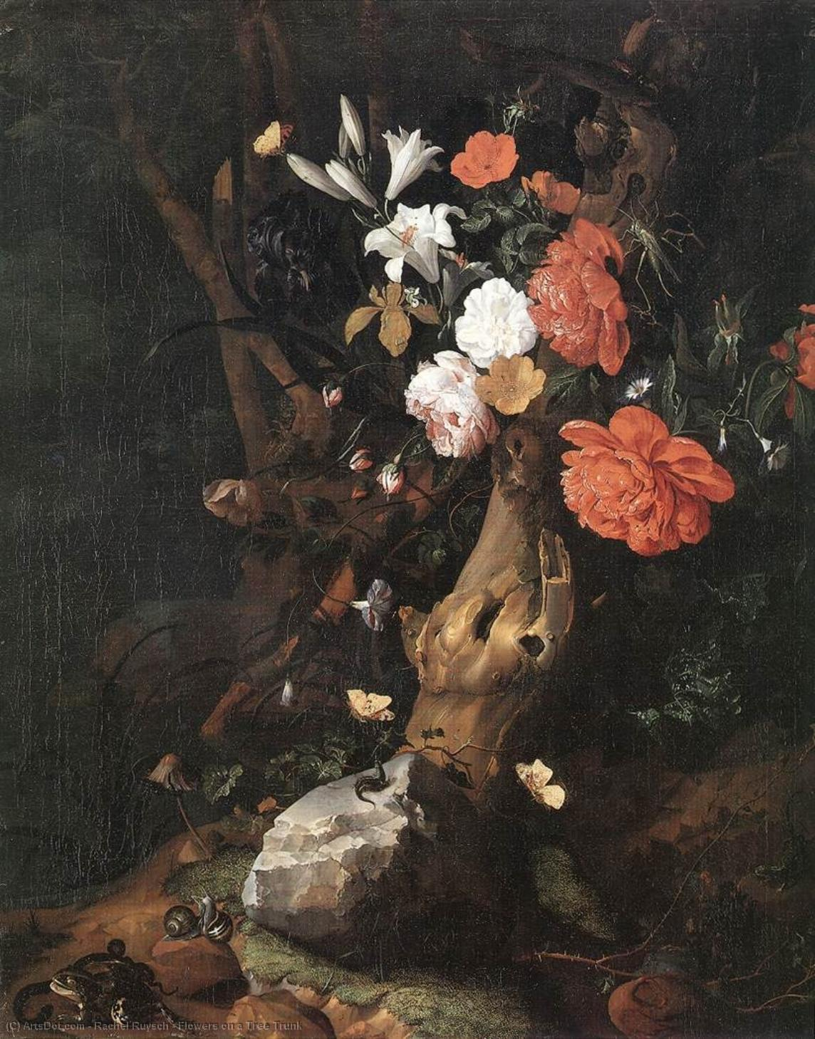 Flowers on a Tree Trunk by Rachel Ruysch (1664-1750, Netherlands) | Museum Quality Reproductions | ArtsDot.com
