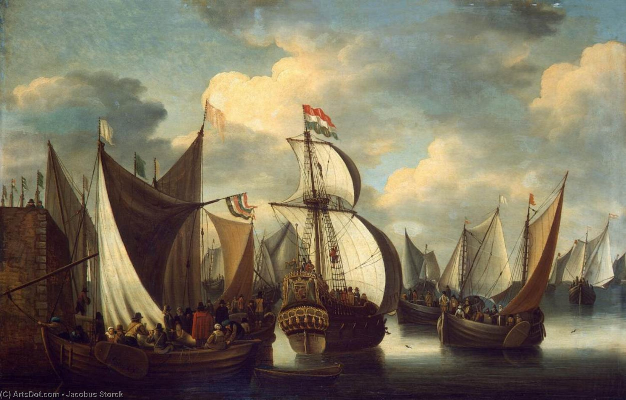 View of a Harbour, Oil On Panel by Jacobus Storck (1641-1692, Netherlands)