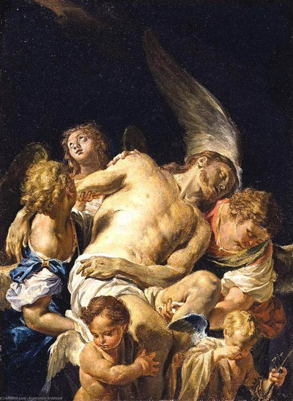 Dead Christ Supported by Angels, Oil On Panel by Francesco Trevisani (1656-1746, Italy)