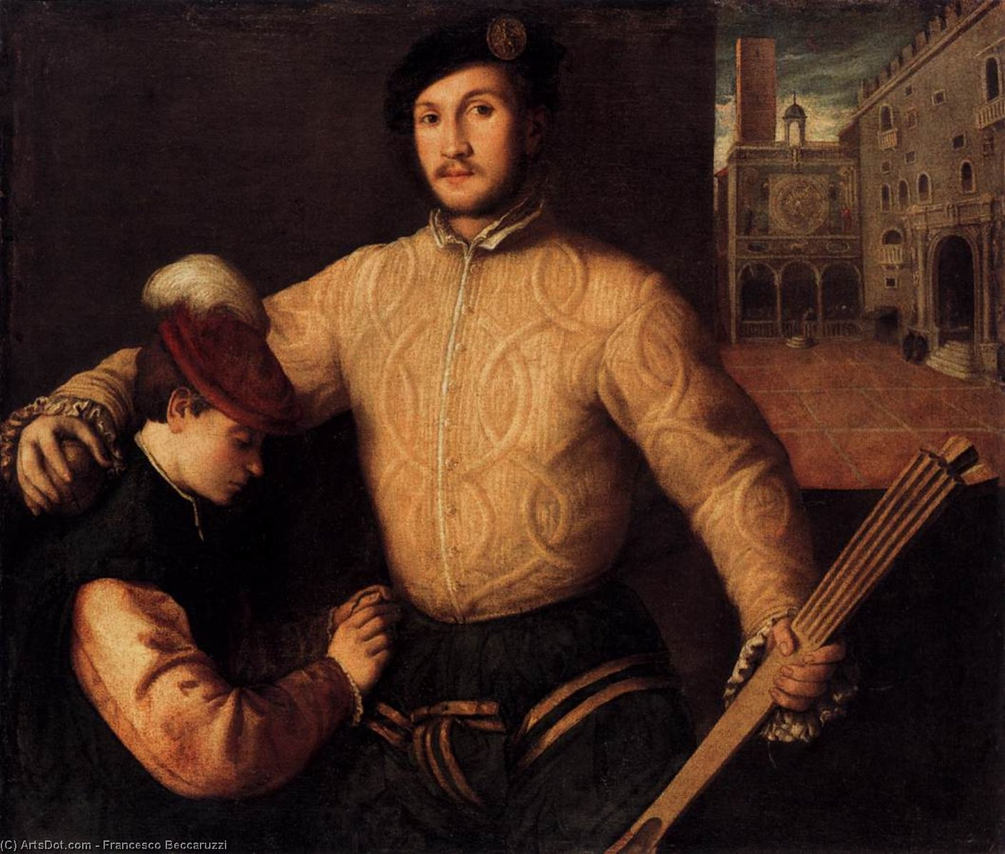 Order Museum Quality Reproductions : A Ballplayer and His Page by Francesco Beccaruzzi (1492-1562, Italy) | ArtsDot.com