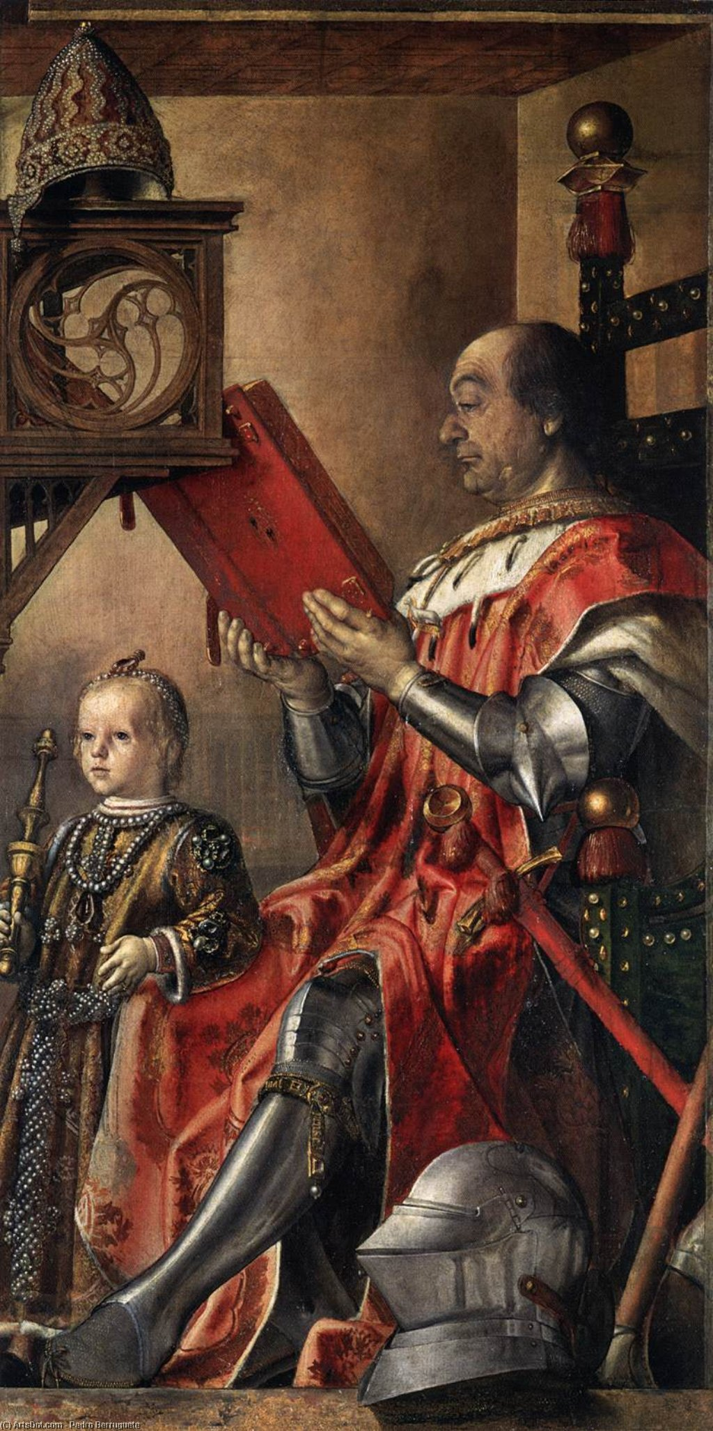 Prince Federico da Montefeltro and his Son, Oil On Panel by Pedro Berruguete (1450-1504, Spain)