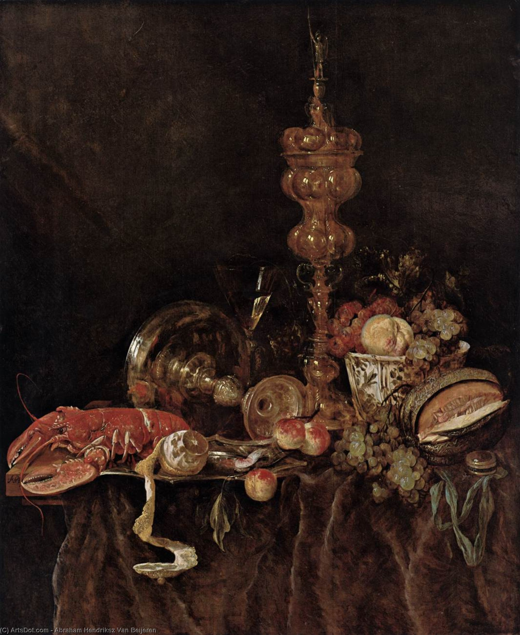 Still-Life with Lobster and Fruit, Oil by Abraham Hendriksz Van Beijeren (1620-1690, Netherlands)