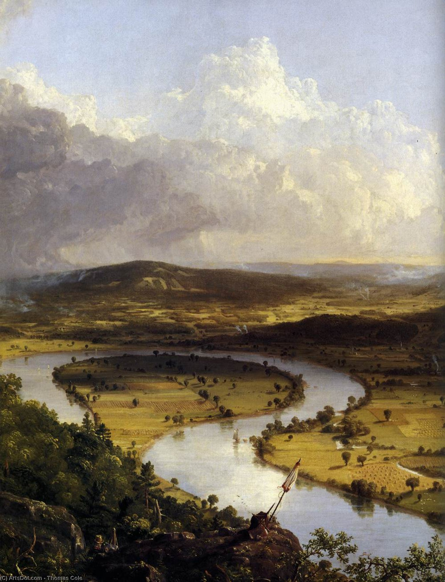 View from Mount Holyoke, Northamptom, Massachusetts, after a Thunderstorm (detail), Oil On Canvas by Thomas Cole (1801-1848, United Kingdom)