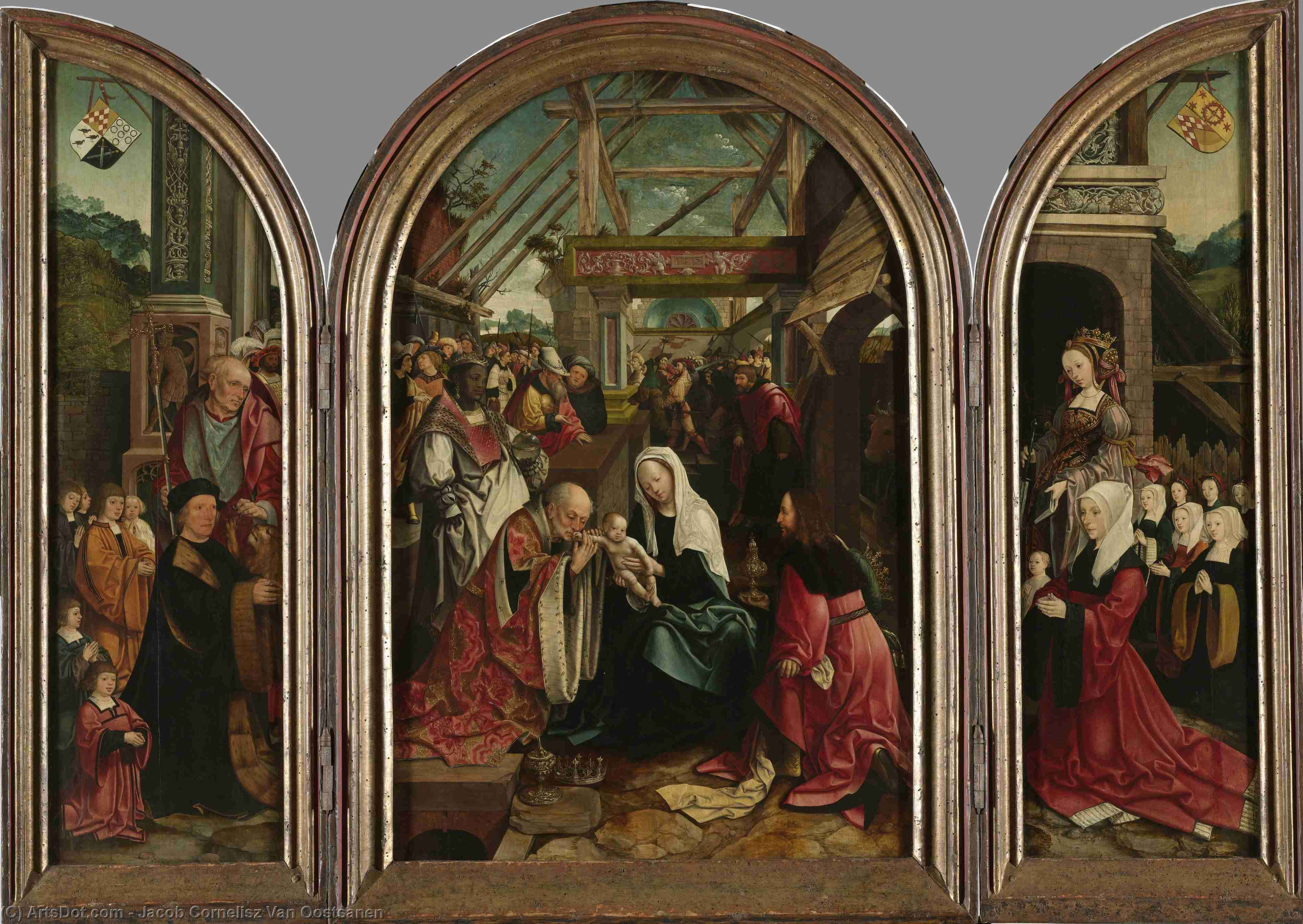Order Museum Quality Copies | Triptych of the Adoration of the Magi, 1517 by Jacob Cornelisz Van Oostsanen (1470-1533, Netherlands) | ArtsDot.com
