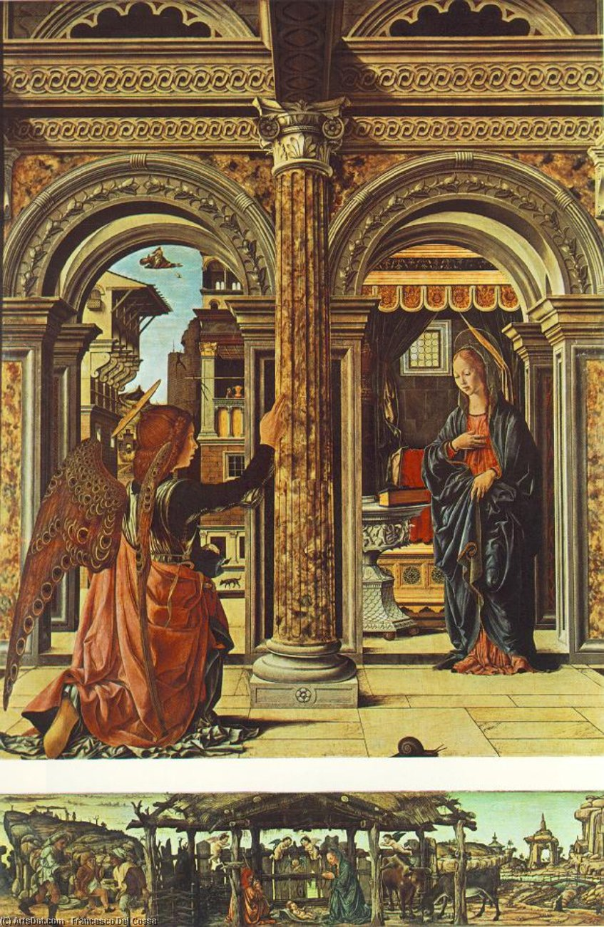Annunciation and Nativity (Altarpiece of Observation), 1470 by Francesco Del Cossa (1436-1477, Italy) | Art Reproduction | ArtsDot.com