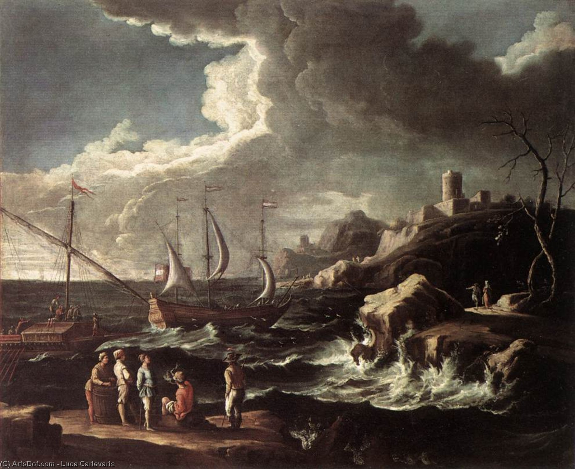 Seascape, Oil On Canvas by Luca Carlevaris (1663-1730, Italy)