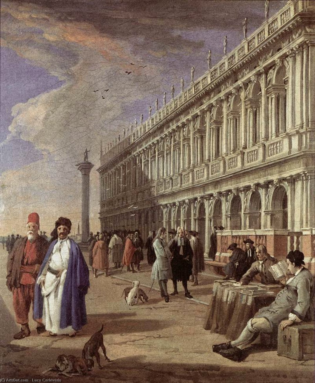 The Piazzetta and the Library, Oil On Canvas by Luca Carlevaris (1663-1730, Italy)