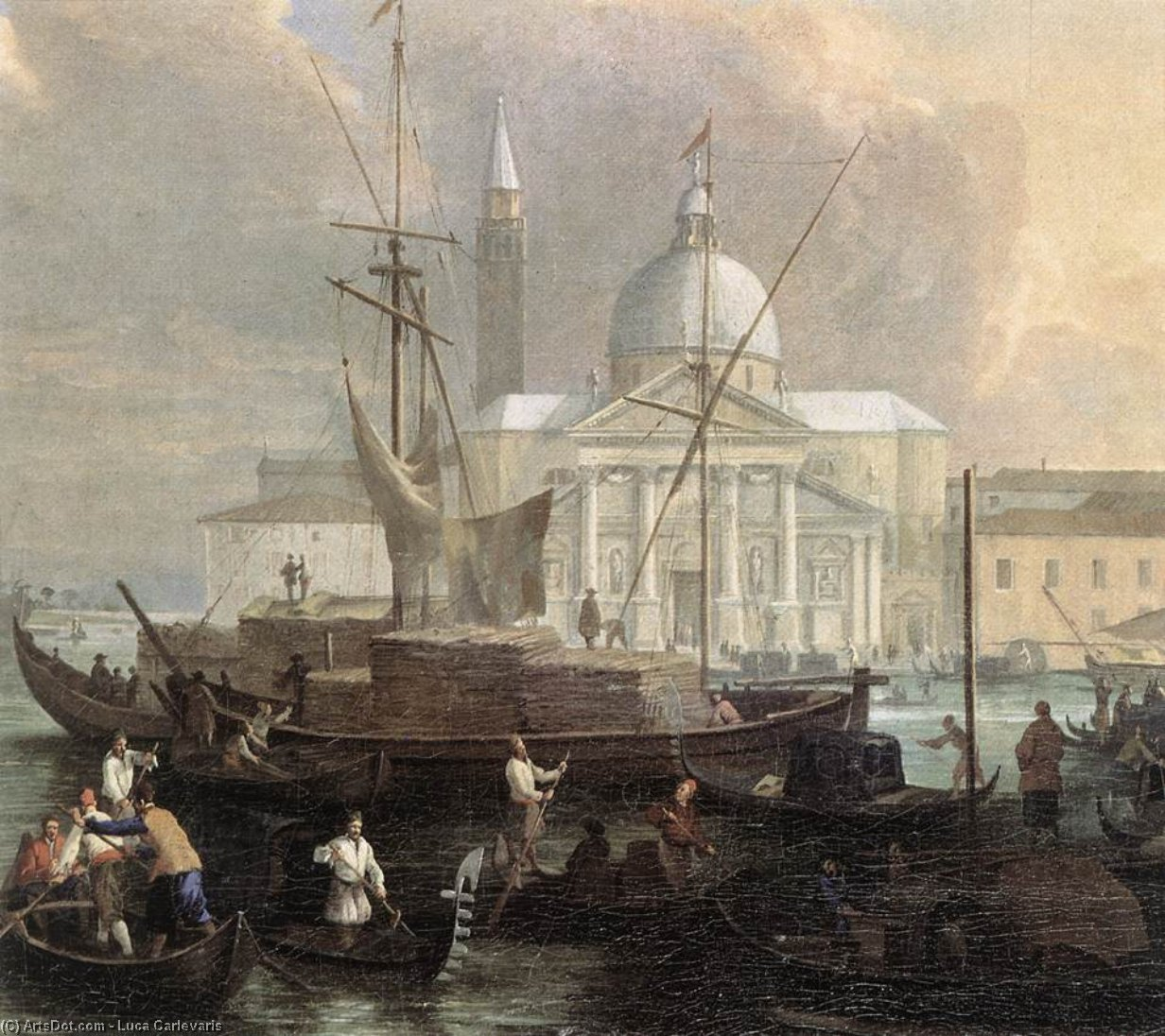 The Sea Custom House with San Giorgio Maggiore (detail), Oil On Canvas by Luca Carlevaris (1663-1730, Italy)