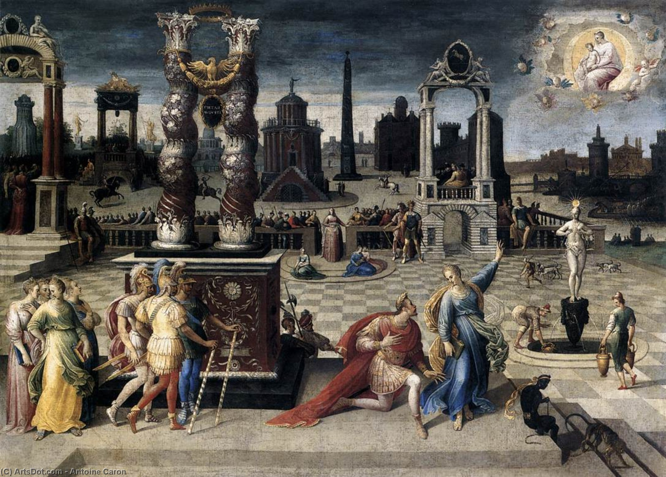 Buy Museum Art Reproductions : Augustus and the Sibyl, 1575 by Antoine Caron (1521-1599, France) | ArtsDot.com