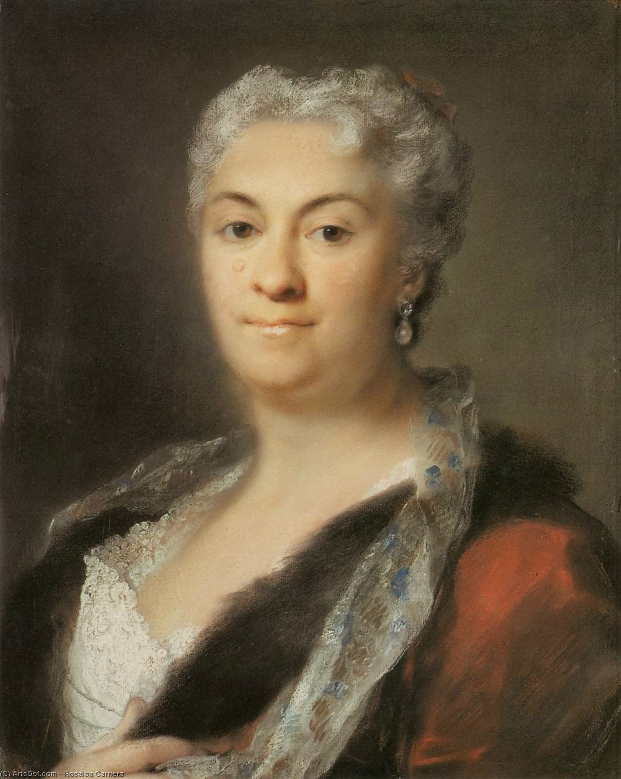 Elderly Lady, Pastel by Rosalba Carriera (1675-1757, Italy)