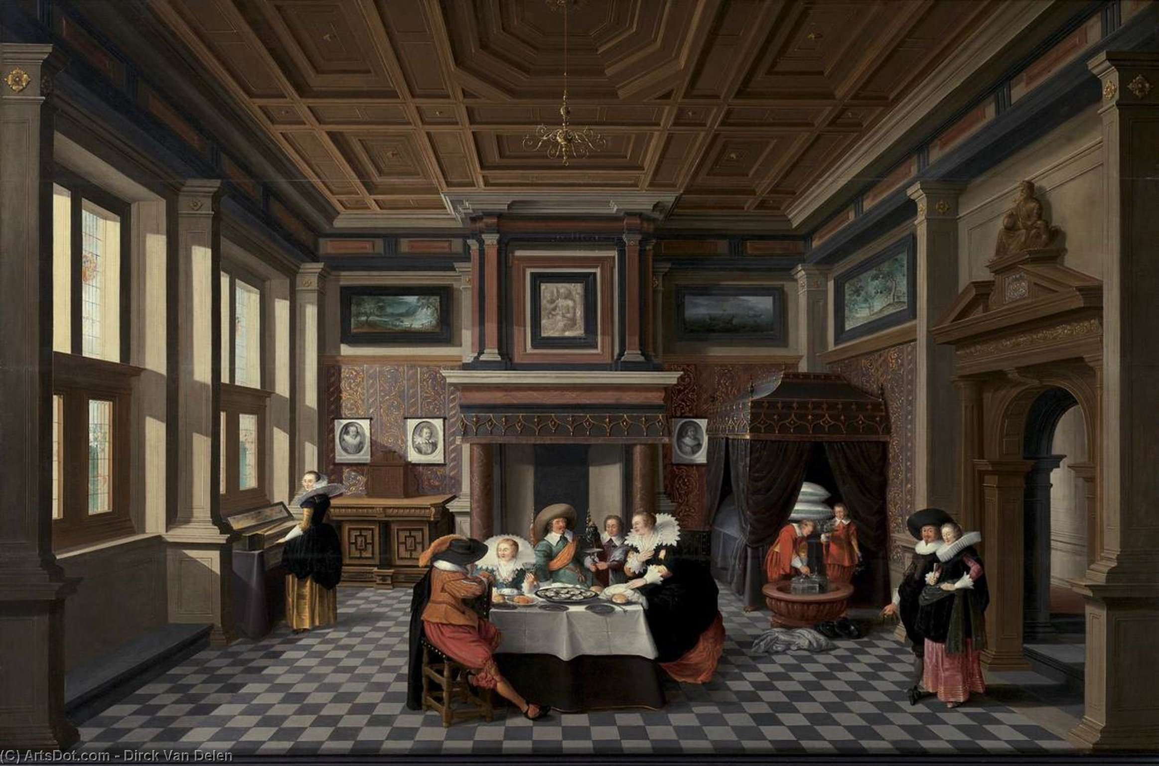 An Interior with Ladies and Gentlemen Dining, Oil On Panel by Dirck Van Delen (1605-1671, Netherlands)