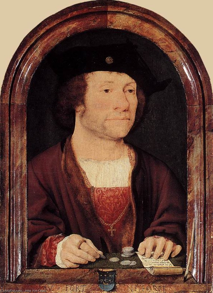 Portrait of Anthonis van Hilten by Joos Van Cleve (1485-1540, Germany) | Museum Quality Reproductions | ArtsDot.com