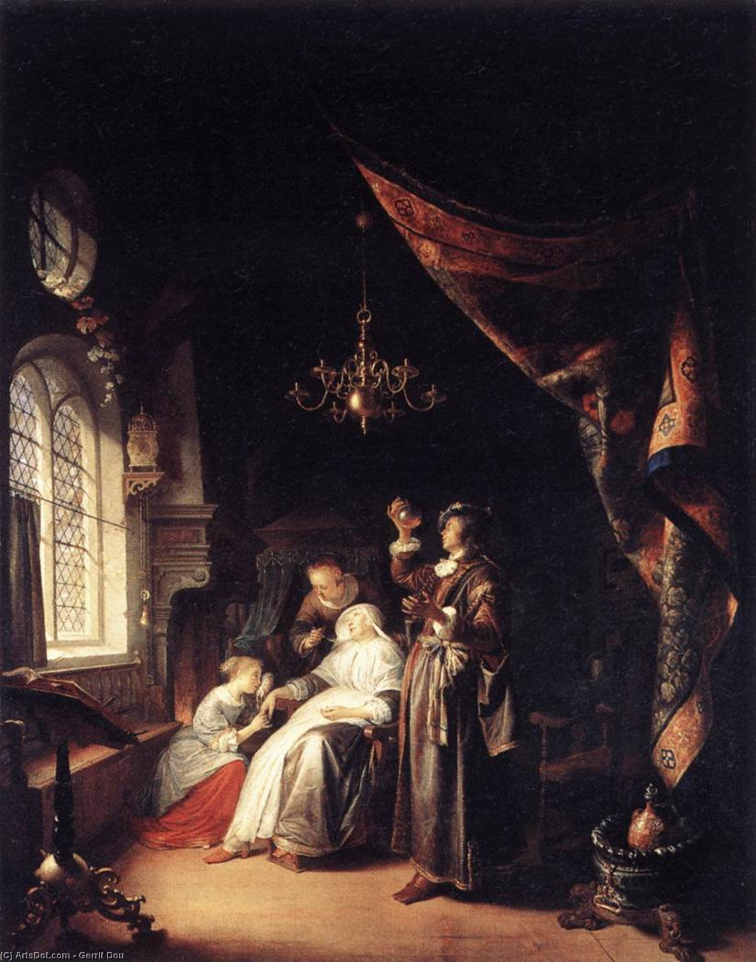The Dropsical Woman, Oil by Gerrit Dou (1613-1675, Netherlands)