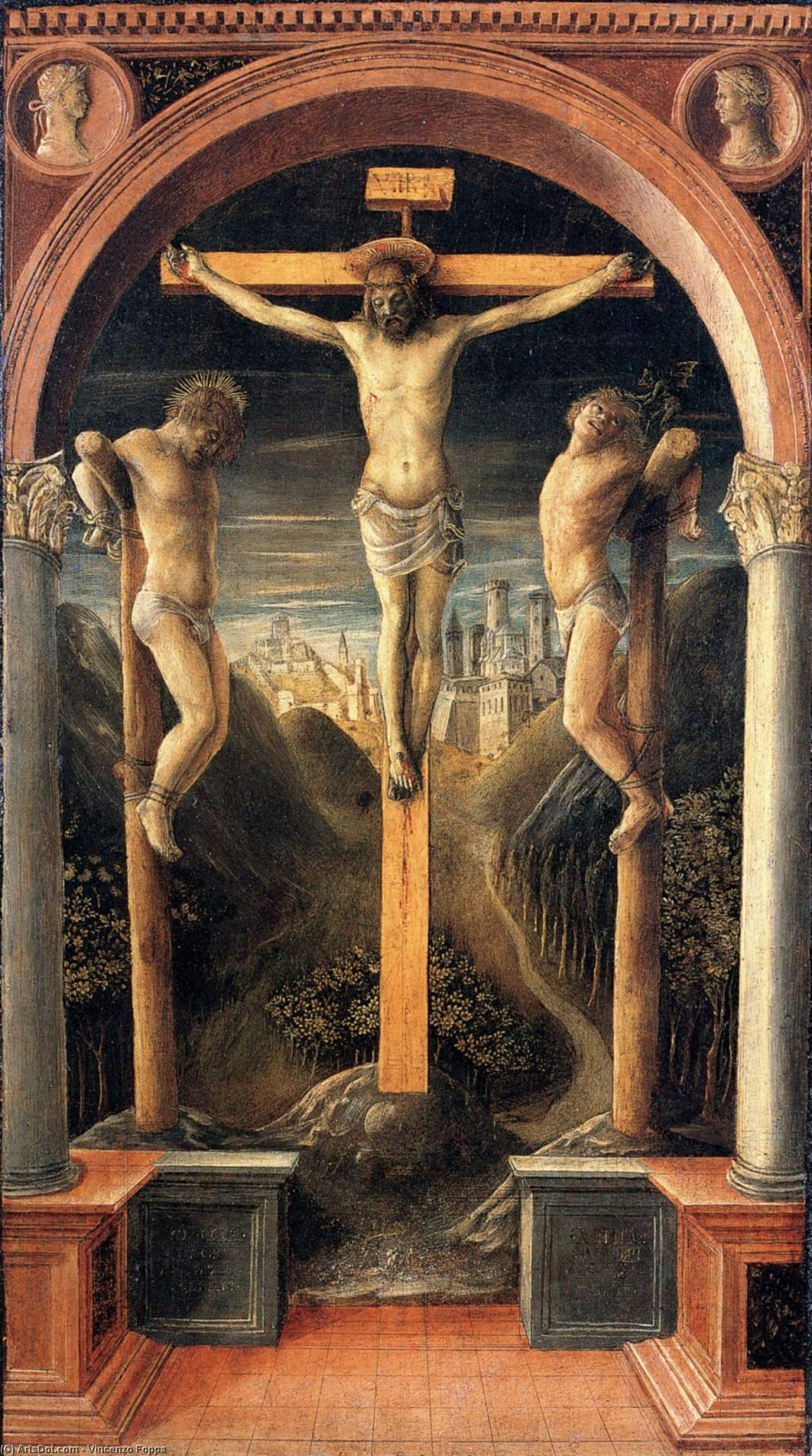 Crucifixion, Tempera by Vincenzo Foppa (1427-1515, Italy)
