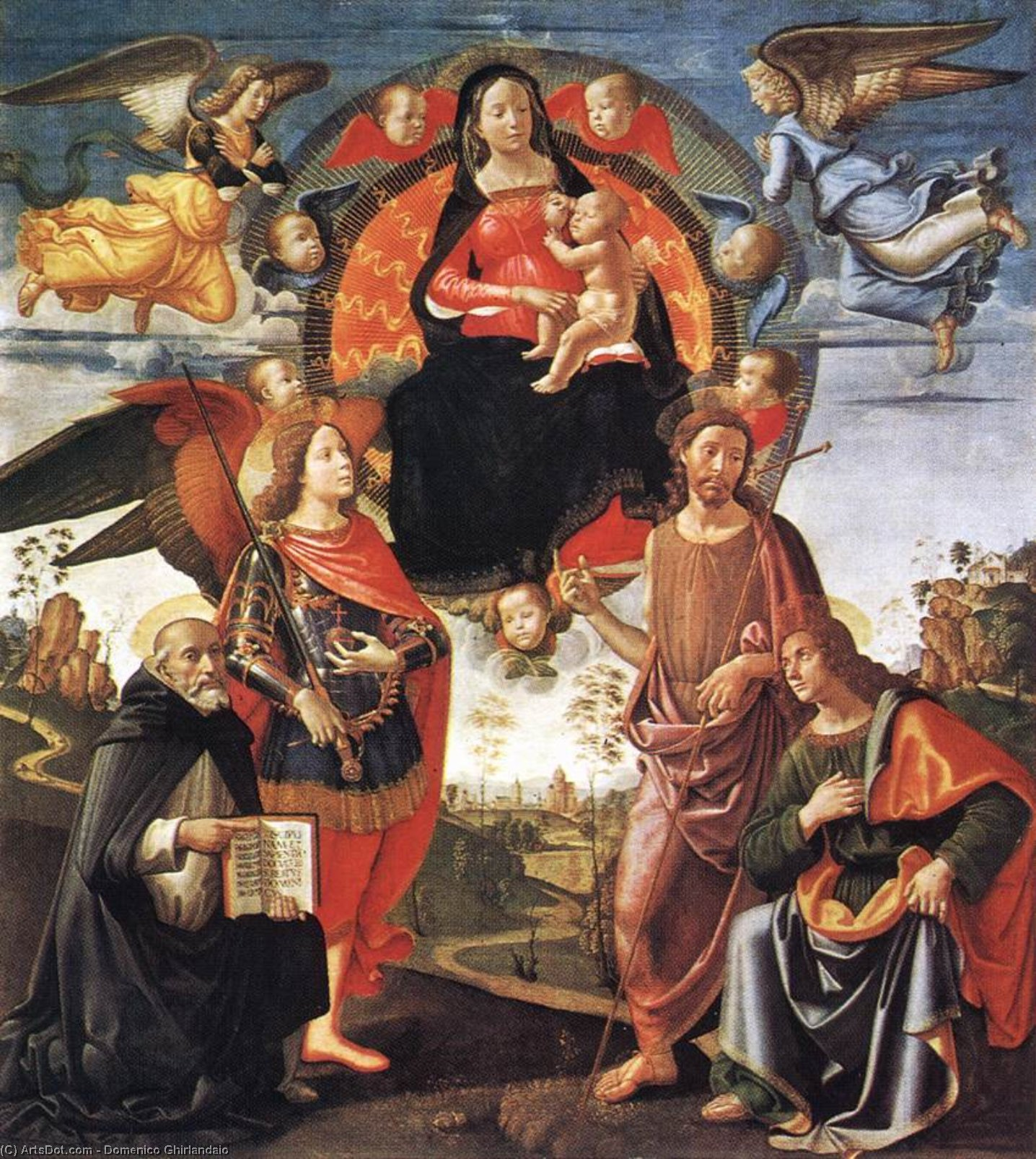Madonna in Glory with Saints, Tempera by Domenico Ghirlandaio (1449-1494, Italy)
