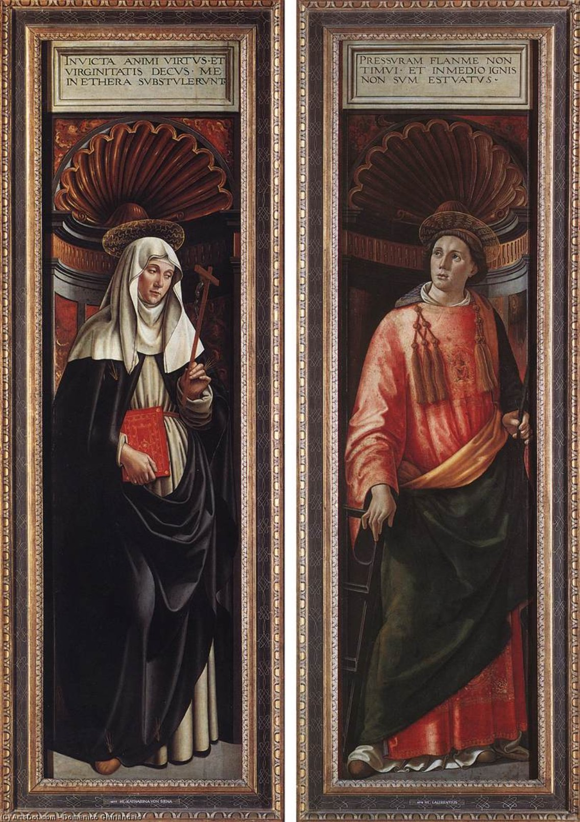 St Catherine of Siena and St Lawrence, Tempera by Domenico Ghirlandaio (1449-1494, Italy)