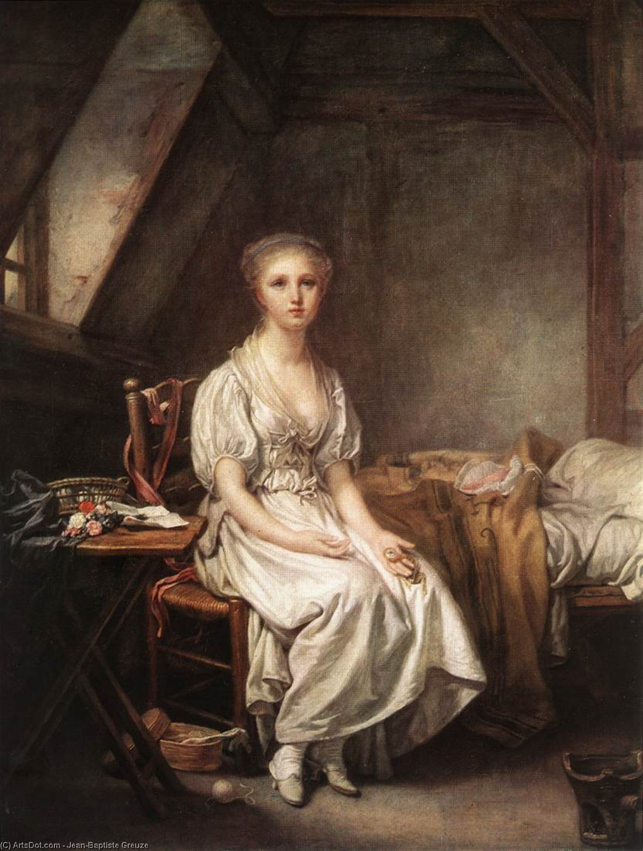 The Complain of the Watch, 1770 by Jean-Baptiste Greuze (1725-1805, France) | Oil Painting | ArtsDot.com