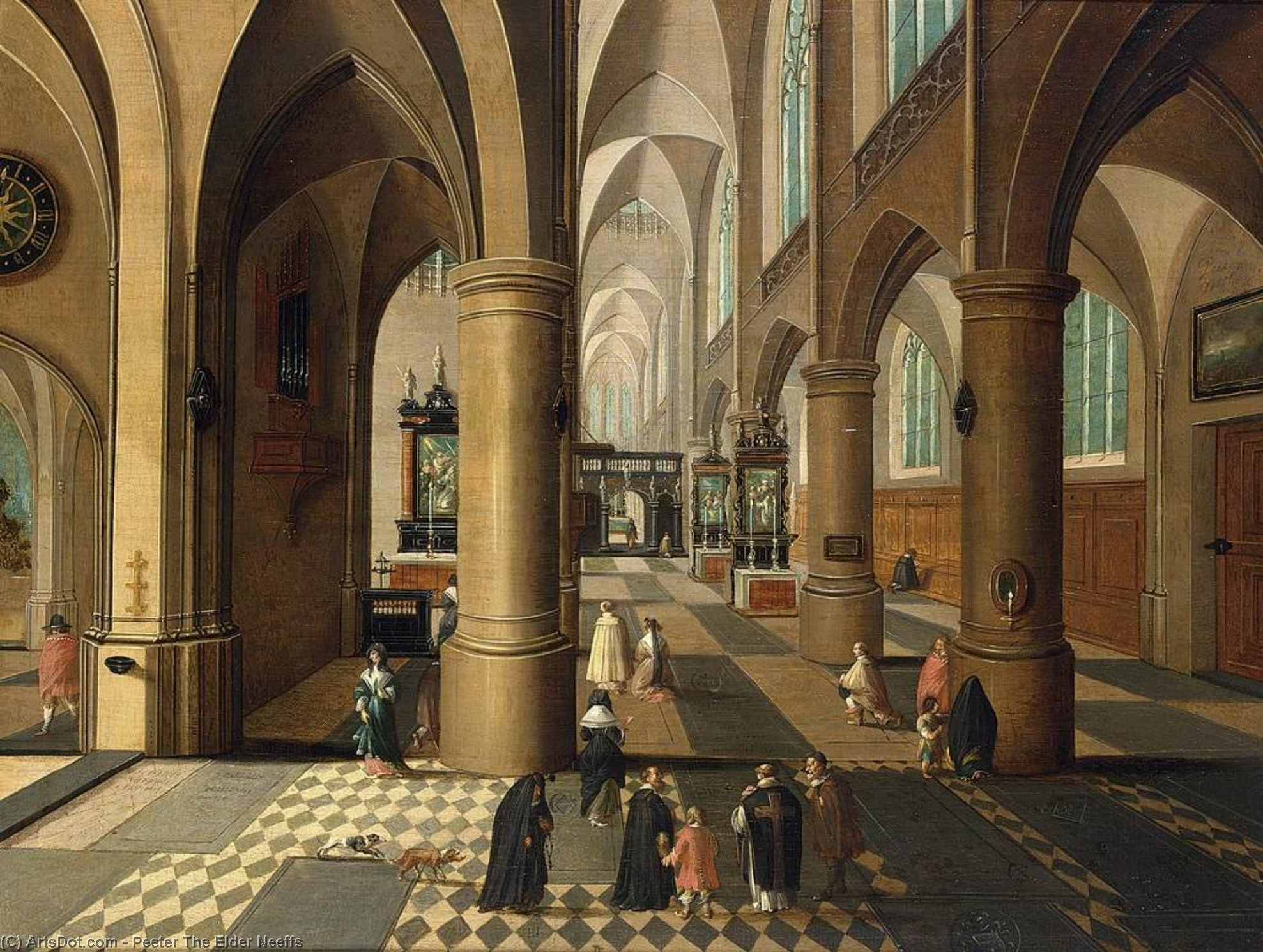 Church Interior, Oil On Panel by Peeter The Elder Neeffs