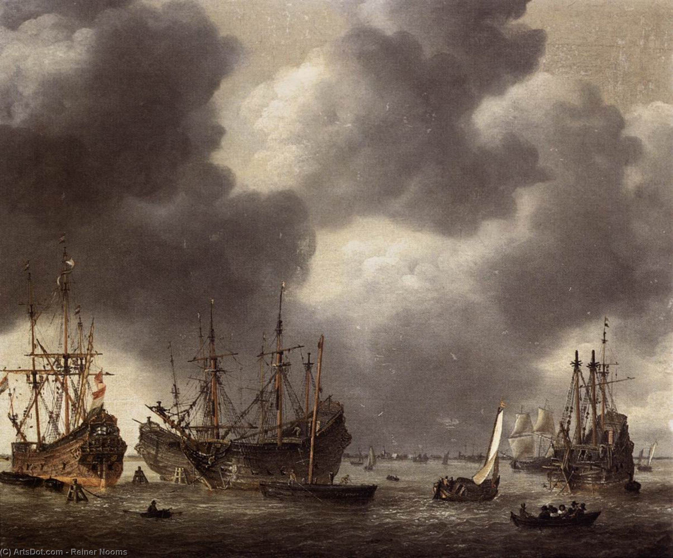 Merchant Vessel at Anchor, Oil On Canvas by Reiner Nooms (1623-1667, Netherlands)