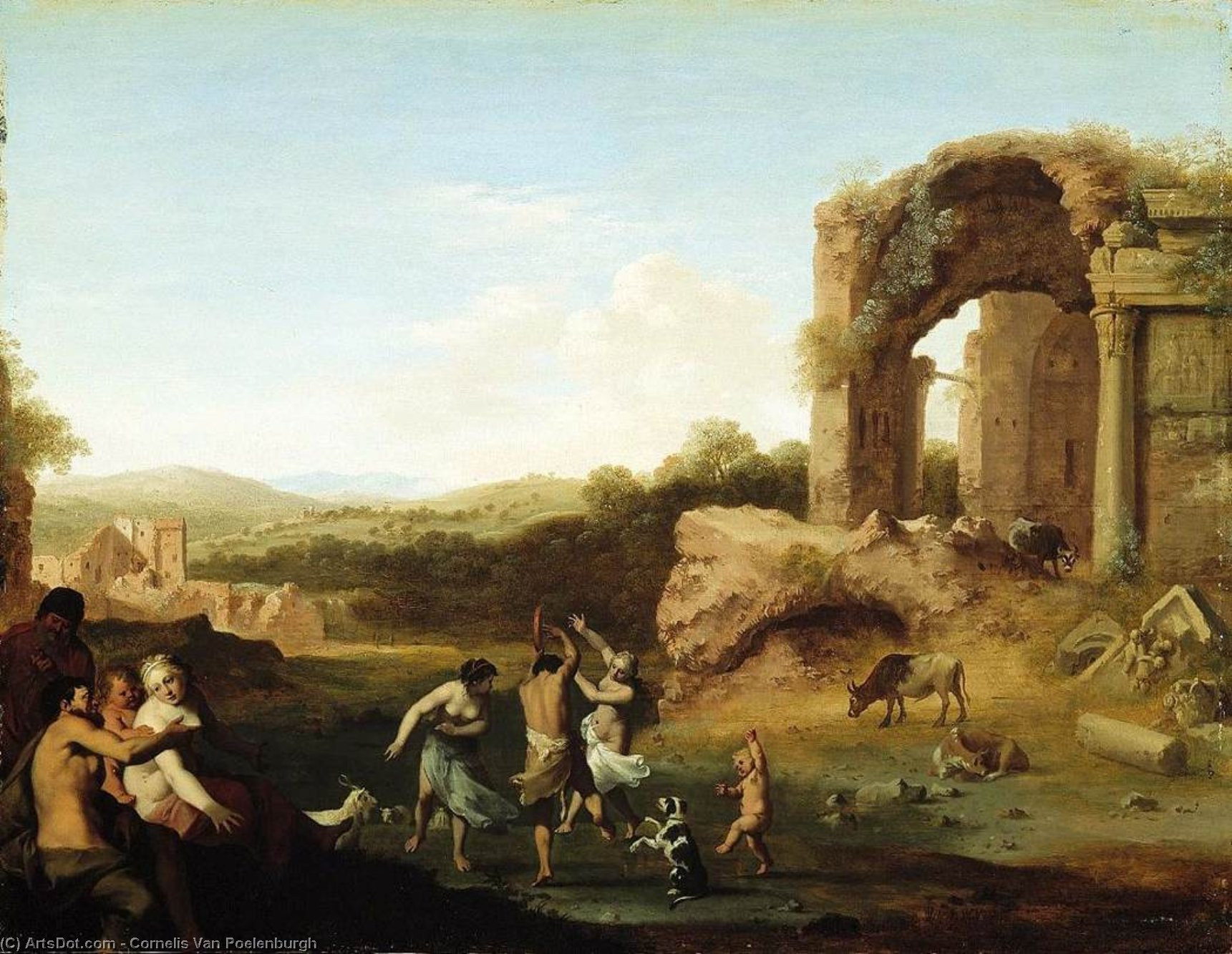 Figures Dancing near Ruin, Oil On Panel by Cornelis Van Poelenburgh (1595-1667, Netherlands)