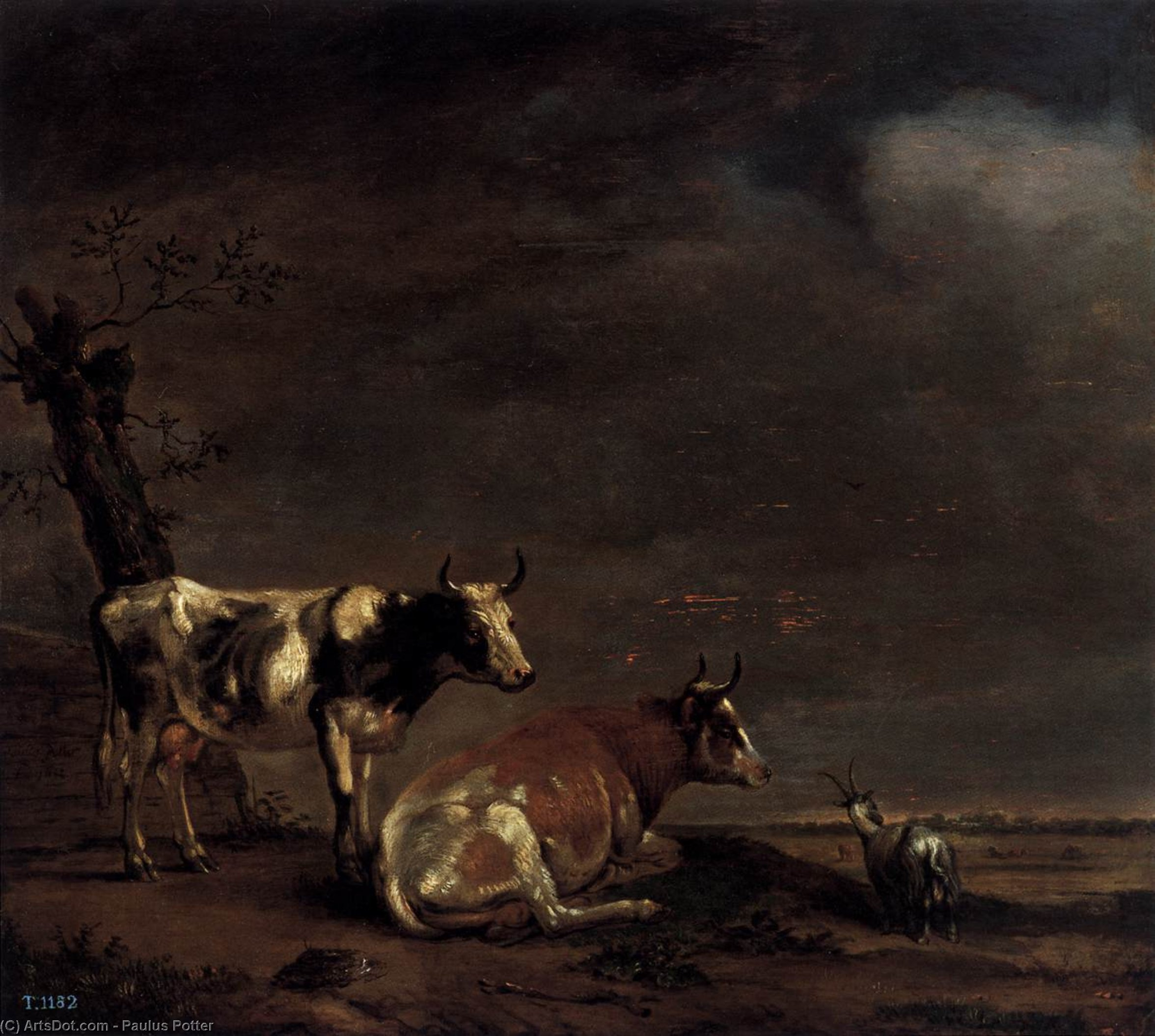 Landscape with Two Cows and a Goat, 1652 by Paulus Potter (1625-1654, Netherlands) | ArtsDot.com