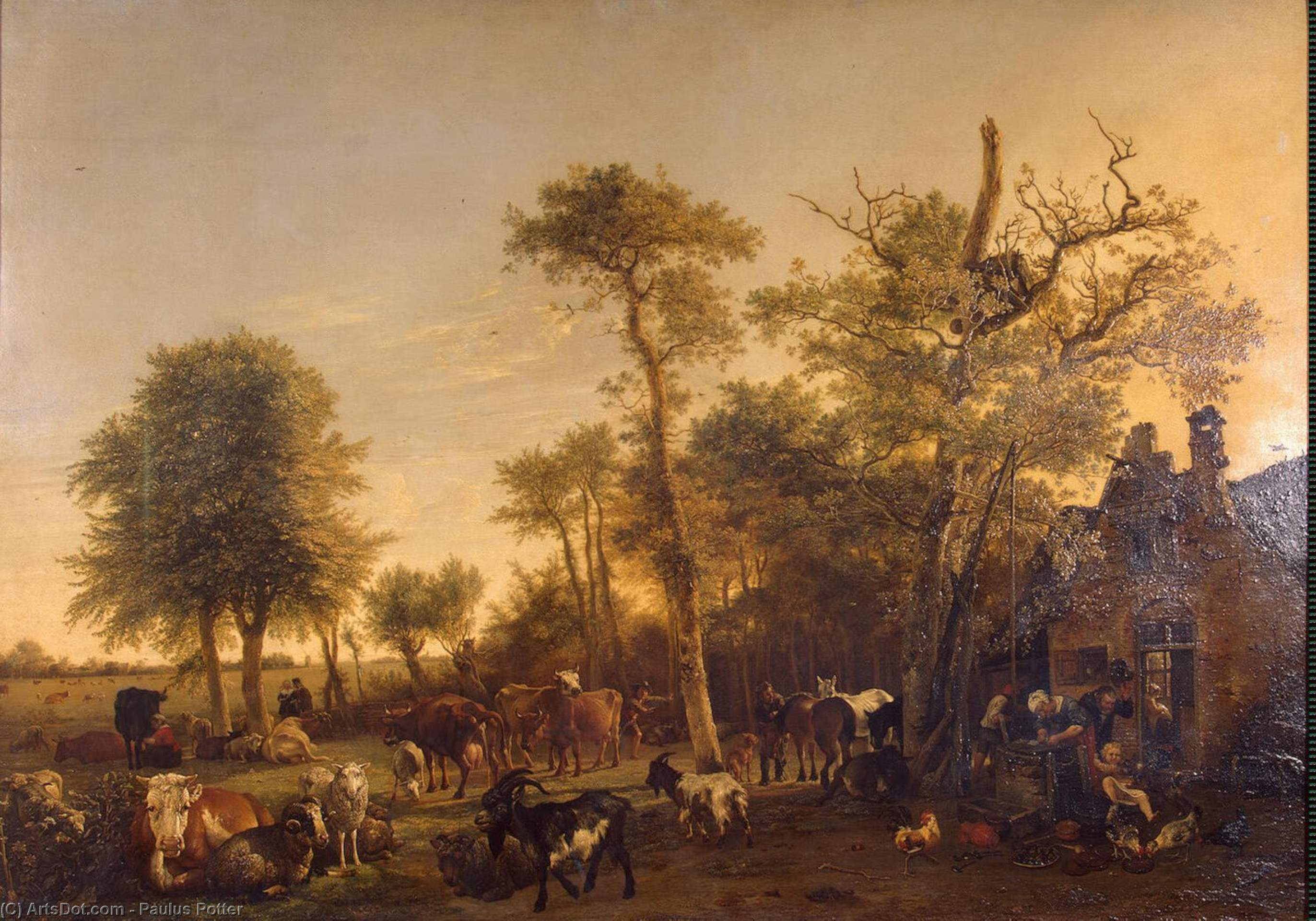 Buy Museum Art Reproductions : The Farm, 1649 by Paulus Potter (1625-1654, Netherlands) | ArtsDot.com