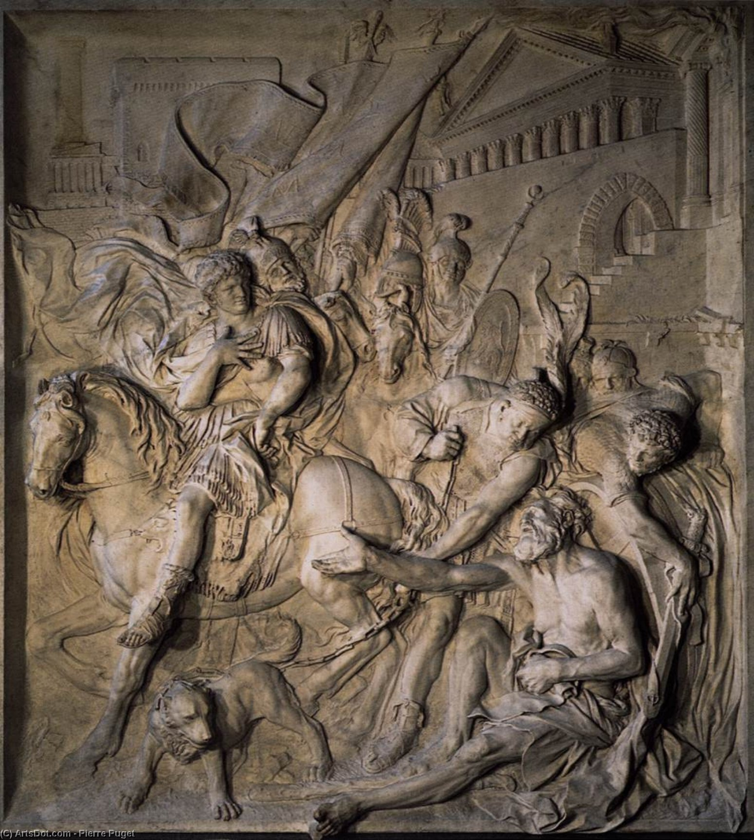 The Meeting of Alexander the Great and Diogenes, Marble by Pierre Puget (1620-1694, France)