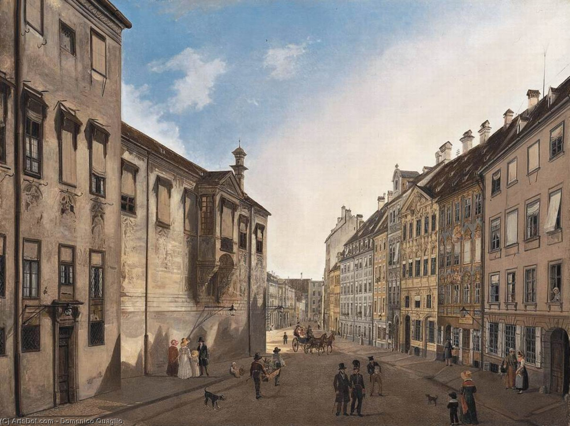 Residenzstrasse Looking Towards Max-Joseph-Platz in 1826, Oil On Canvas by Domenico Quaglio (1787-1837, Italy)