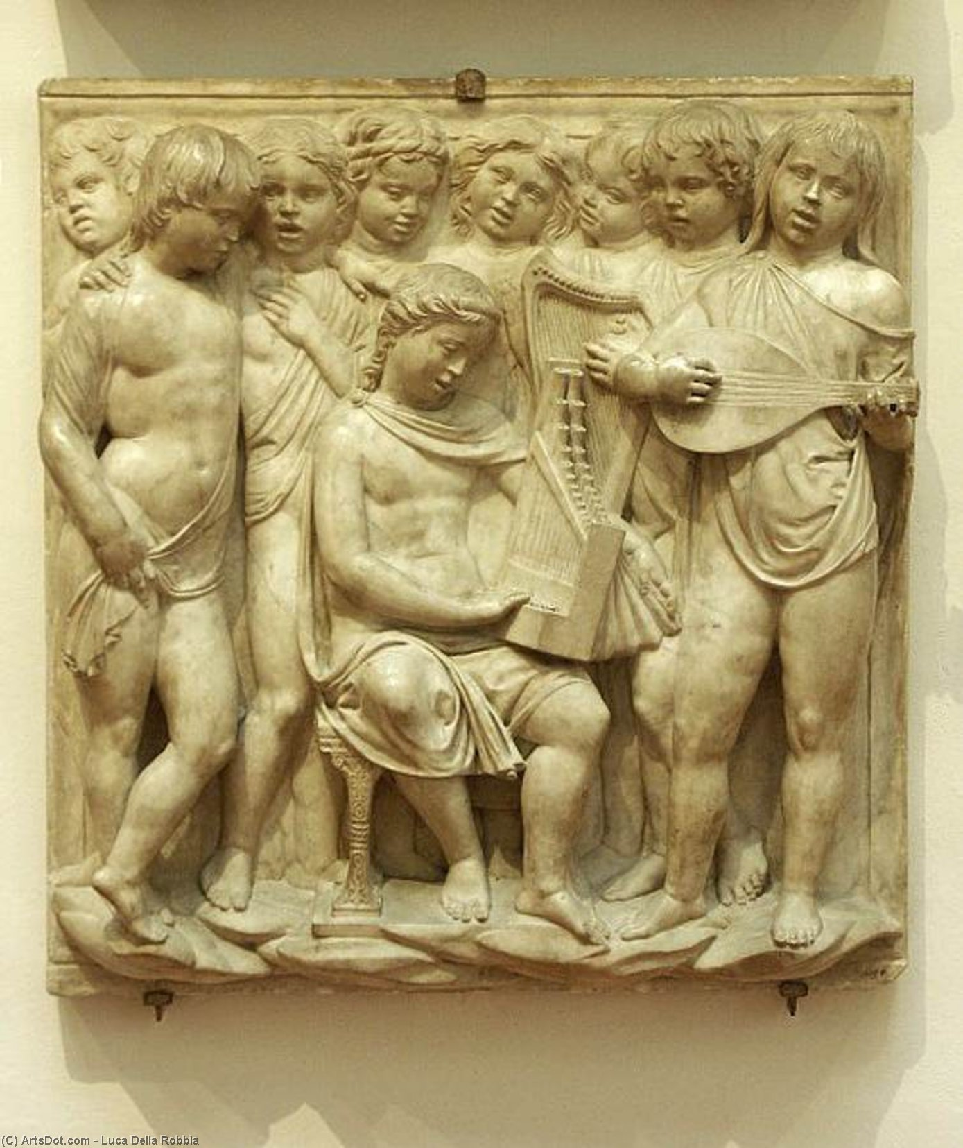 Cantoria: second bottom relief, Marble by Luca Della Robbia (1399-1483, Italy)
