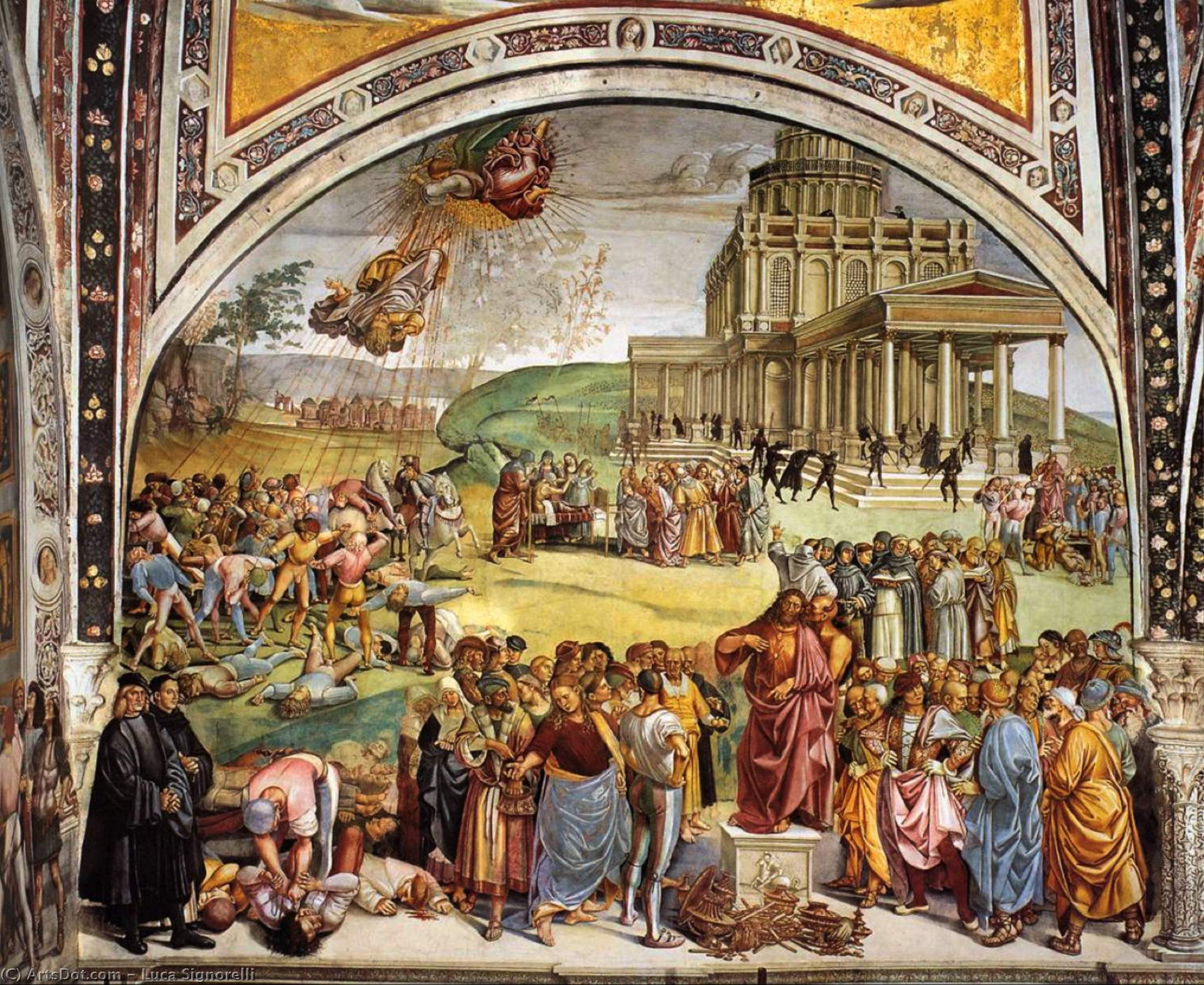 Sermon and Deeds of the Antichrist, Frescoes by Luca Signorelli (1450-1523, Italy)