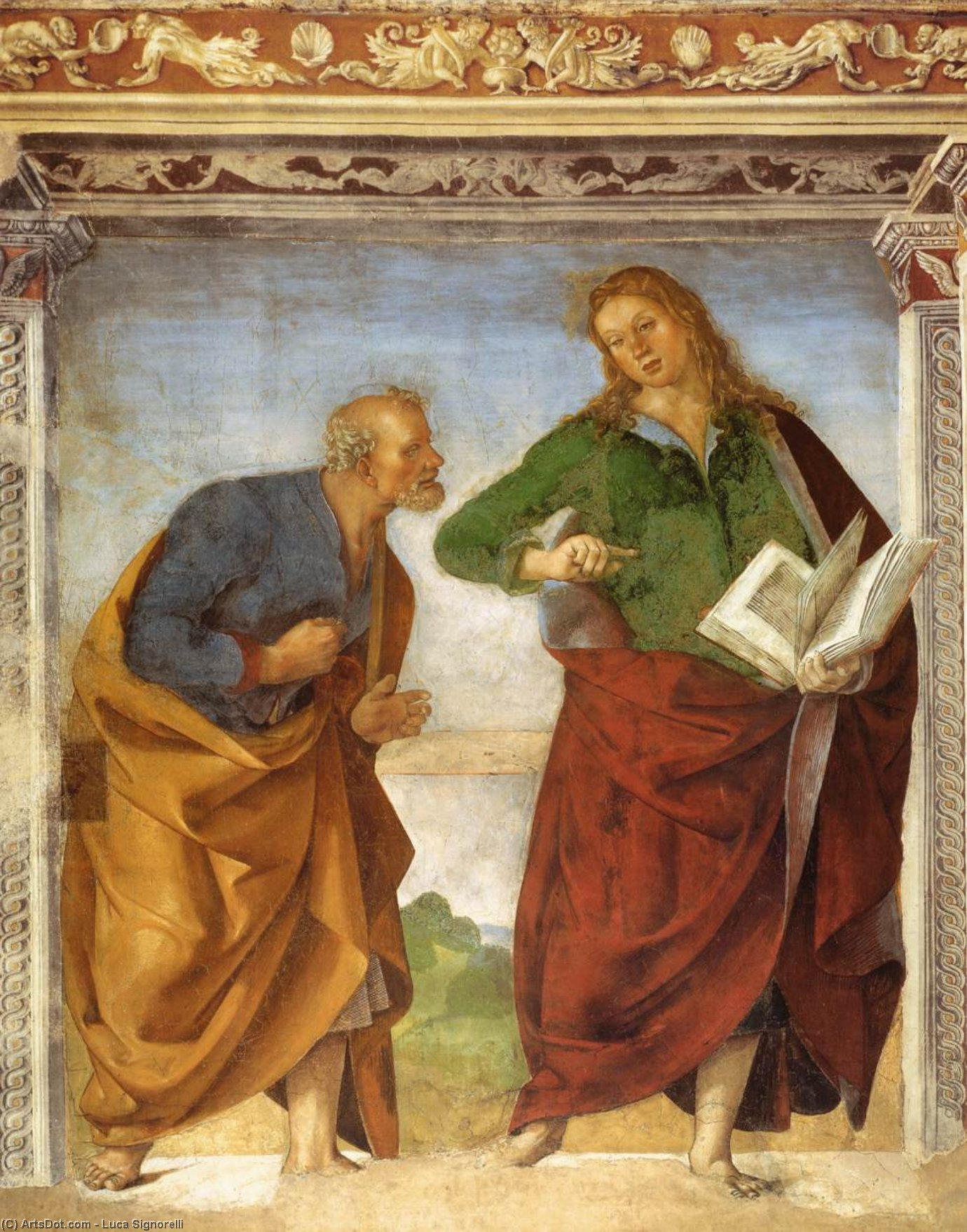 The Apostles Peter and John the Evangelist, Frescoes by Luca Signorelli (1445-1523, Italy)