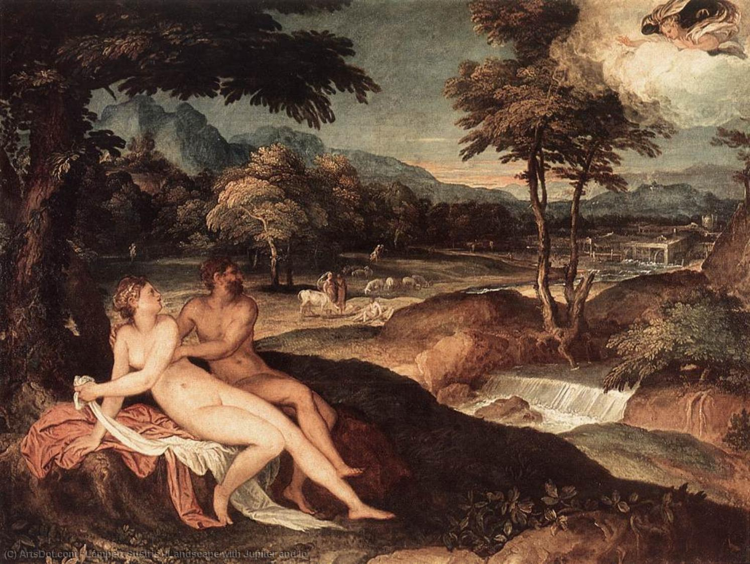 Landscape with Jupiter and Io, 1557 by Lambert Sustris (1520-1584, Netherlands) | Painting Copy | ArtsDot.com