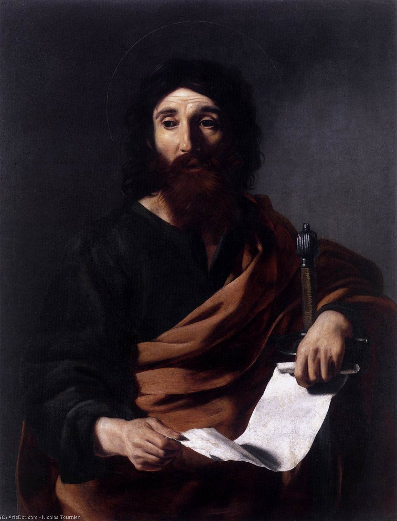 St Paul, Oil On Canvas by Nicolas Tournier (1590-1639, France)