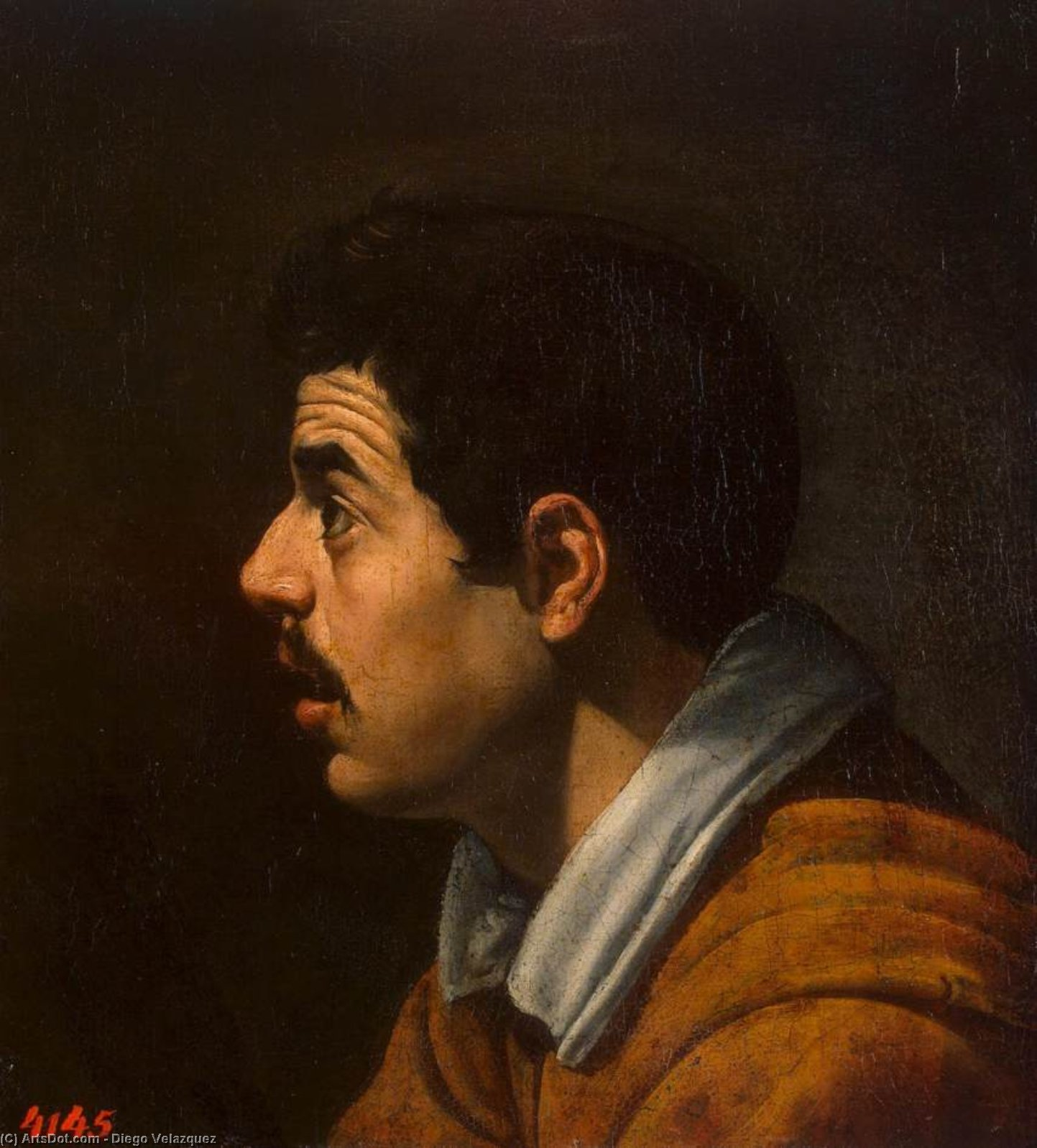 Head of a Man, Oil On Canvas by Diego Velazquez (1599-1660, Spain)