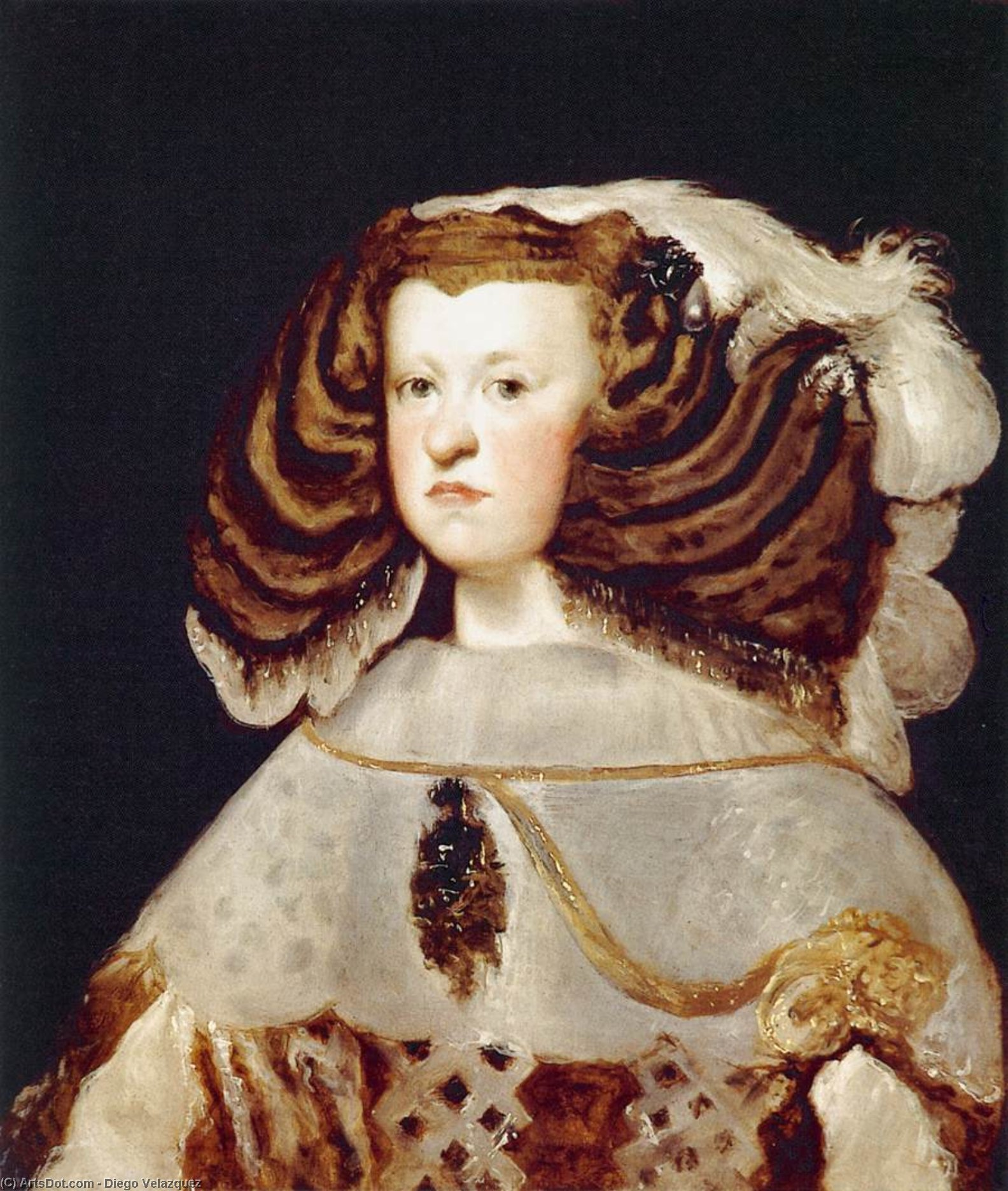 Portrait of Mariana of Austria, Queen of Spain, Oil On Canvas by Diego Velazquez (1599-1660, Spain)