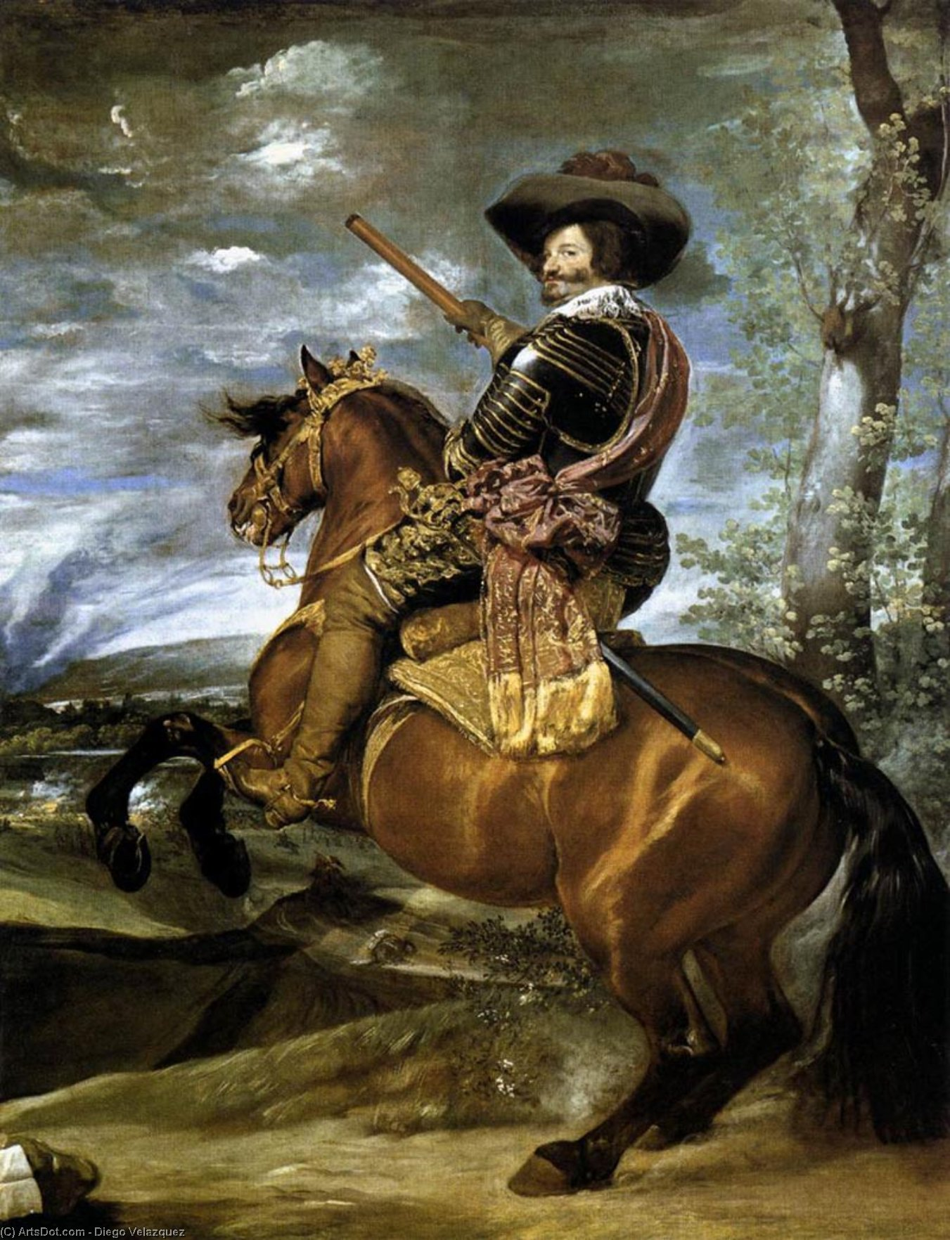 The Count-Duke of Olivares on Horseback, Oil On Canvas by Diego Velazquez (1599-1660, Spain)