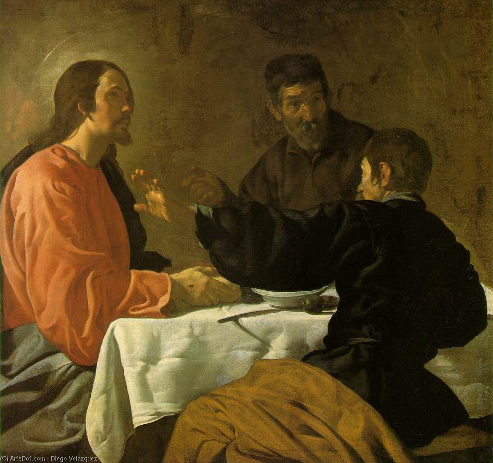 The Supper at Emmaus, Oil On Canvas by Diego Velazquez (1599-1660, Spain)