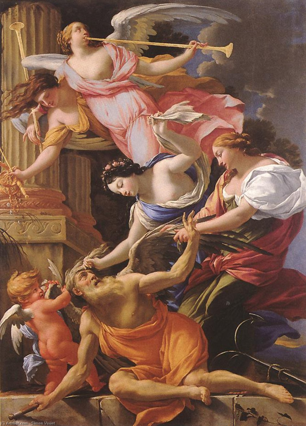 Saturn, Conquered by Amor, Venus and Hope, Oil On Canvas by Simon Vouet (1590-1649, France)