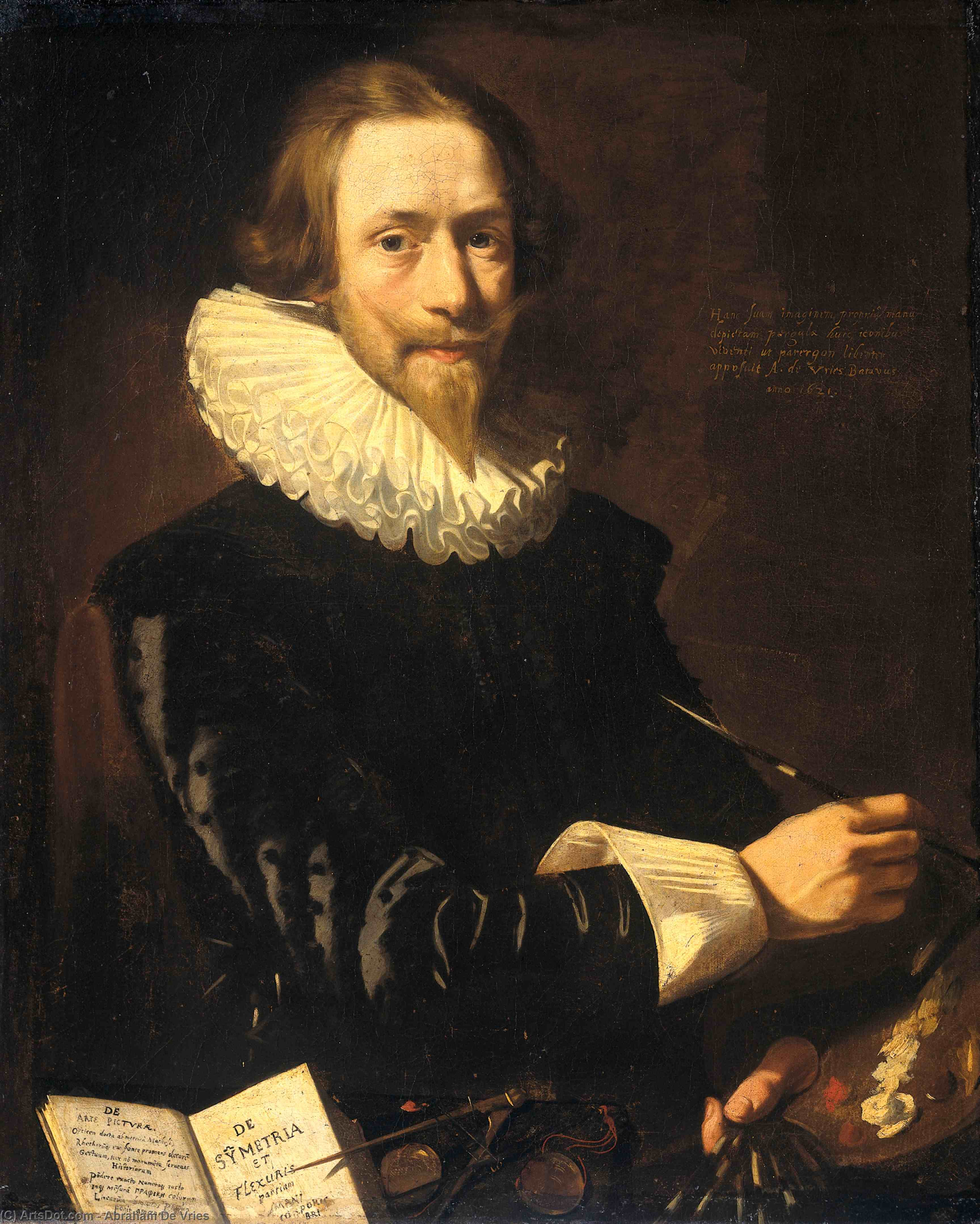 Self-Portrait, 1621 by Abraham De Vries (1590-1662, Netherlands) | Paintings Reproductions Abraham De Vries | ArtsDot.com