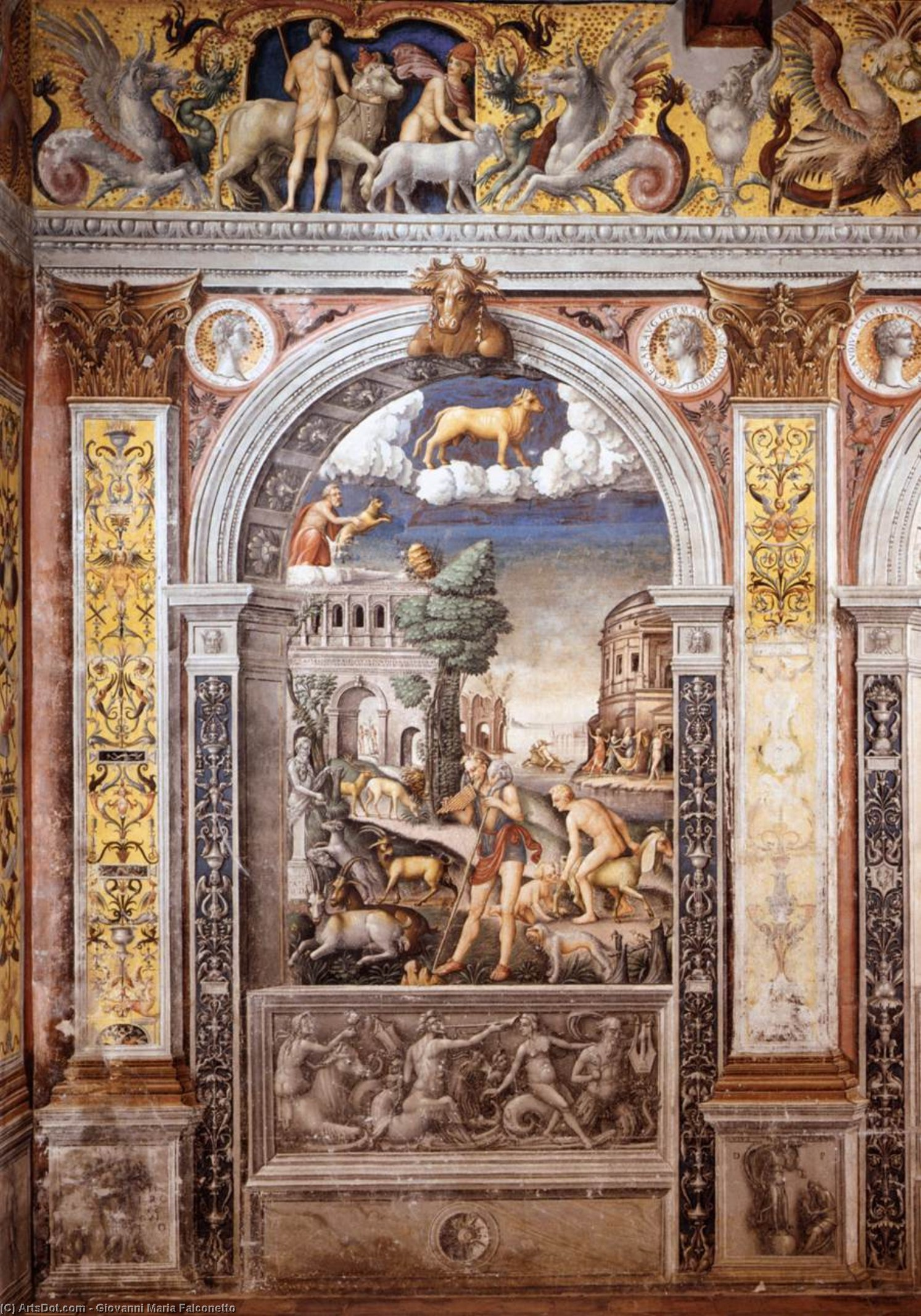 Sign of Taurus, Frescoes by Giovanni Maria Falconetto (1468-1535, Italy)