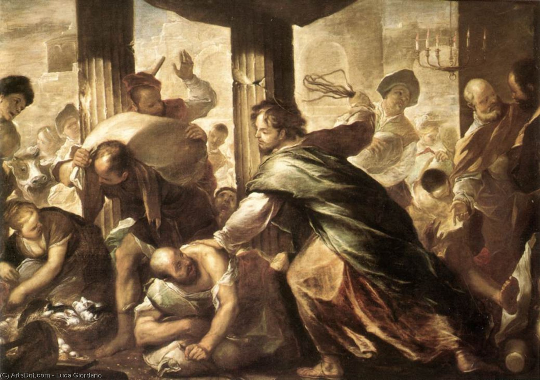 Christ Cleansing the Temple, Oil On Canvas by Luca Giordano (1634-1705, Italy)