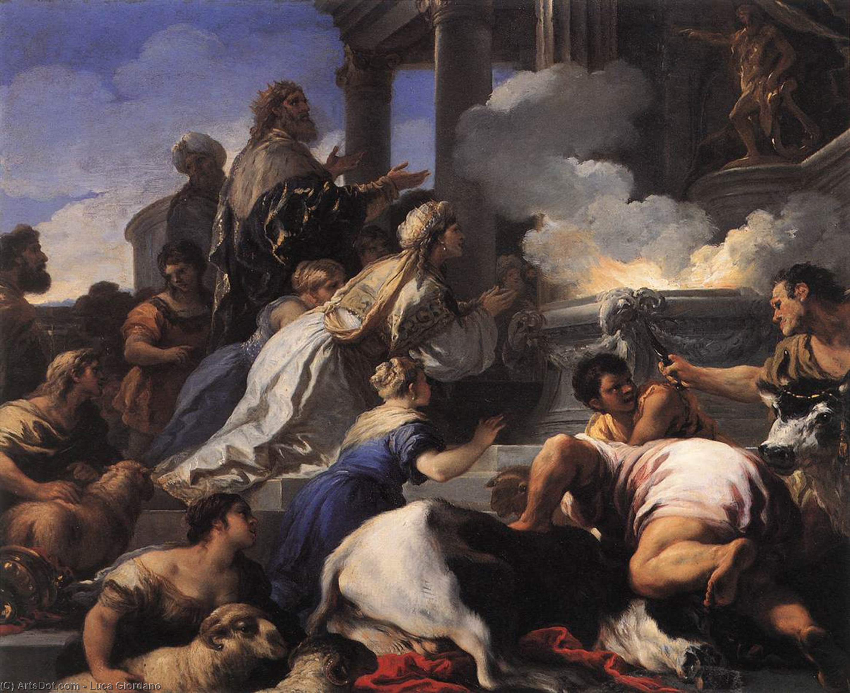 Psyche's Parents Offering Sacrifice to Apollo, Oil On Copper by Luca Giordano (1634-1705, Italy)