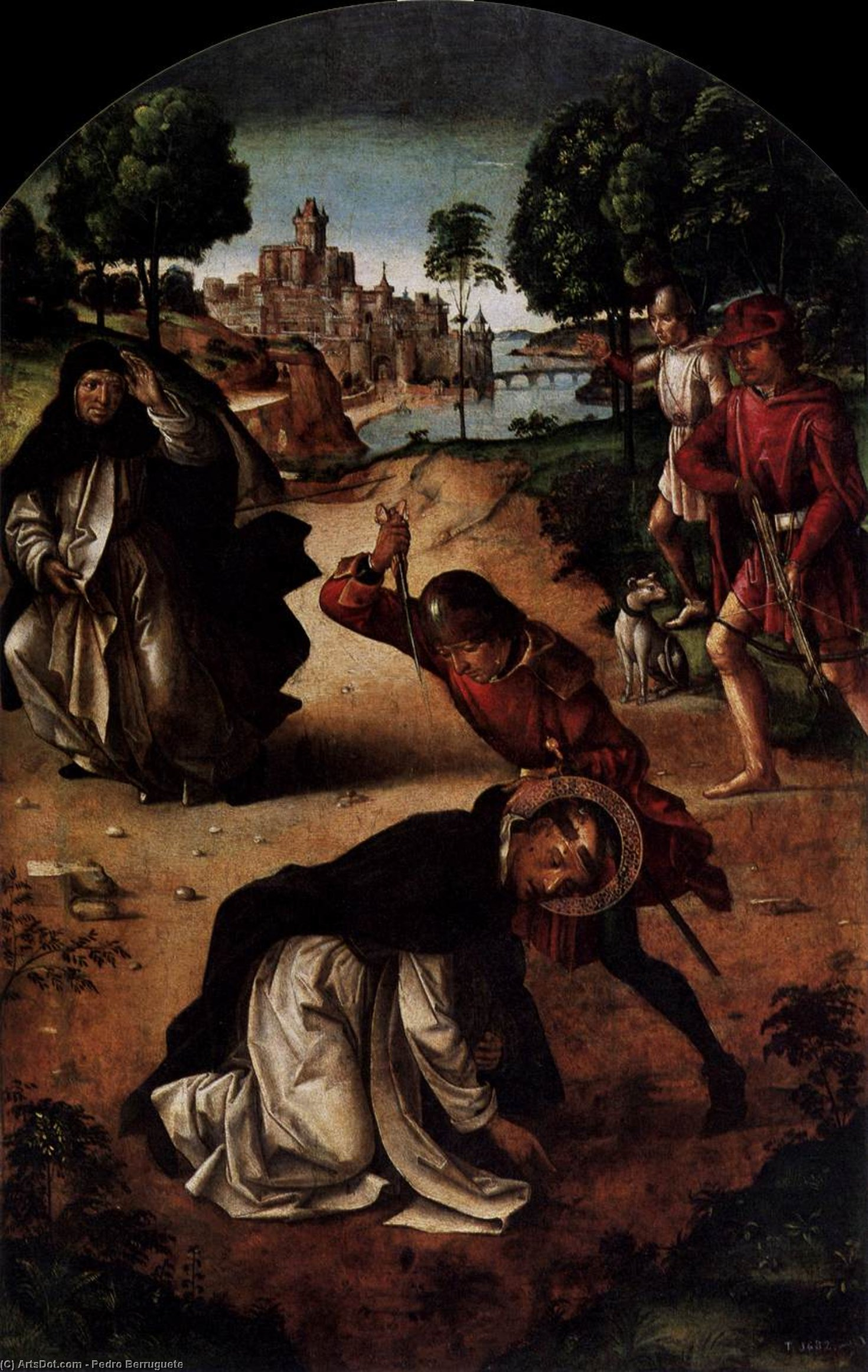 The Death of Saint Peter Martyr, Oil by Pedro Berruguete (1450-1504, Spain)