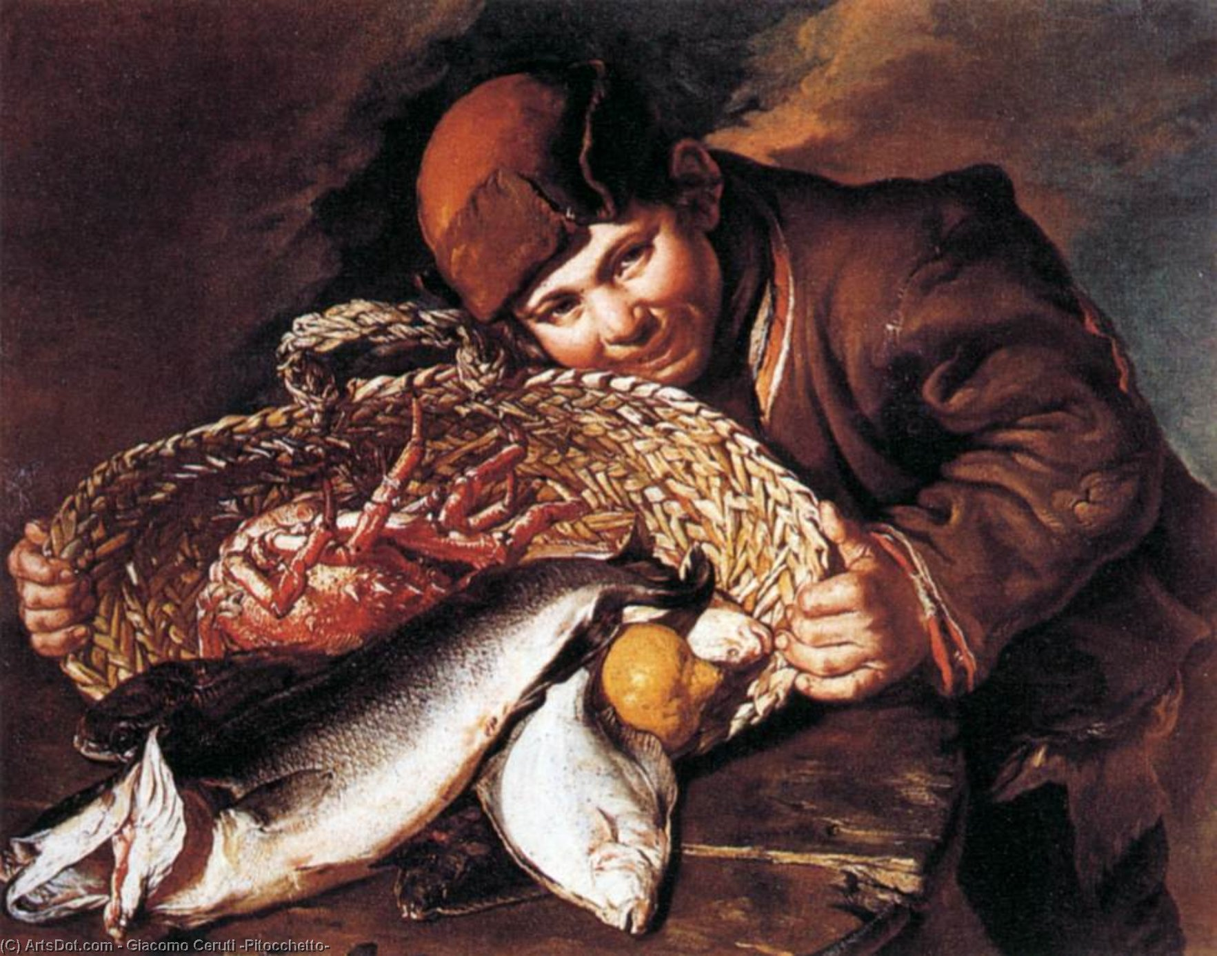 Boy with a Basket of Fish by Giacomo Ceruti (Pitocchetto) (1698-1767, Italy) | Art Reproduction | ArtsDot.com